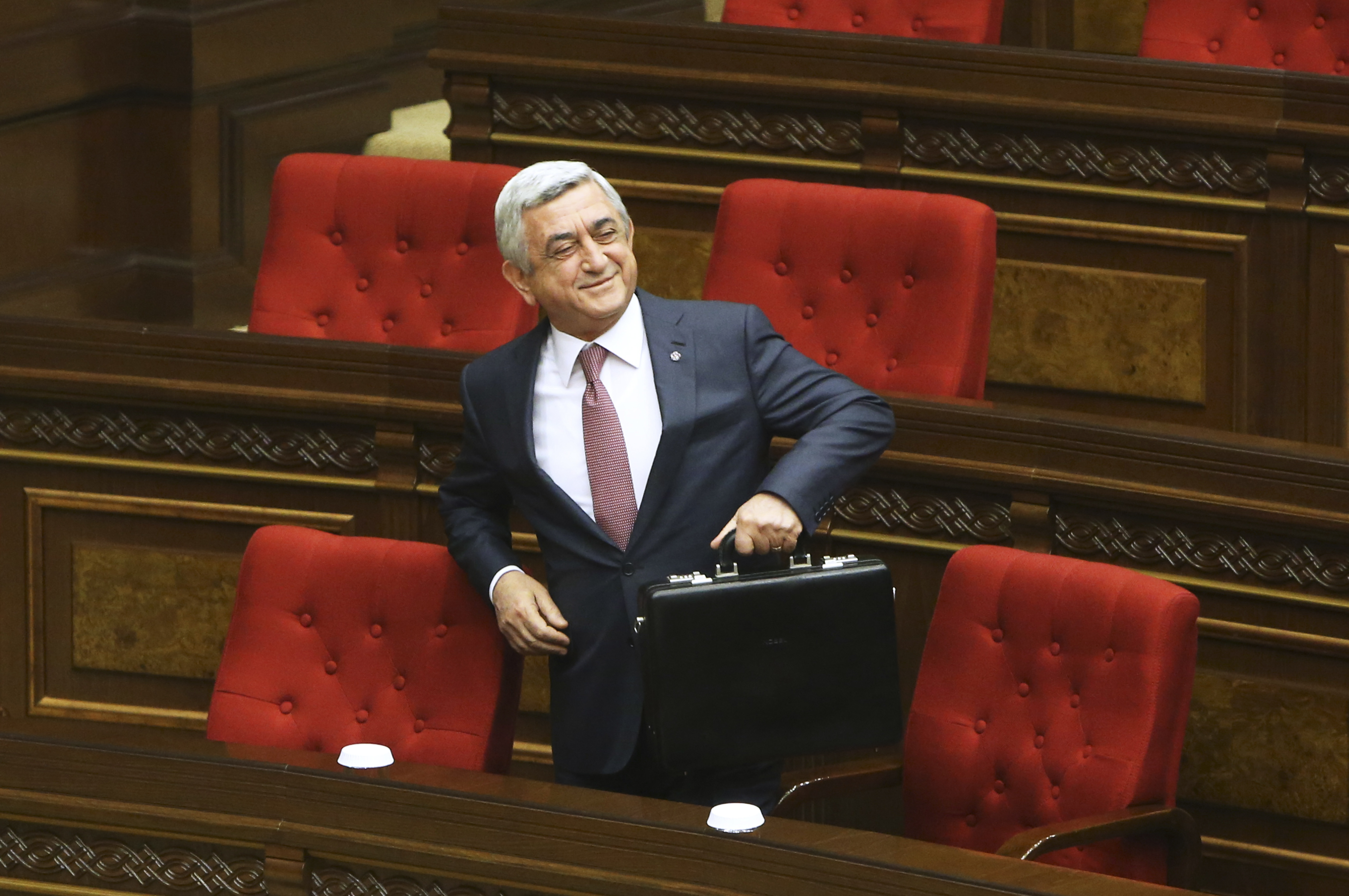 Armenia's former President Serzh Sarksyan attends a session of the parliament in Yerevan, Armenia, Apr. 17, 2018.