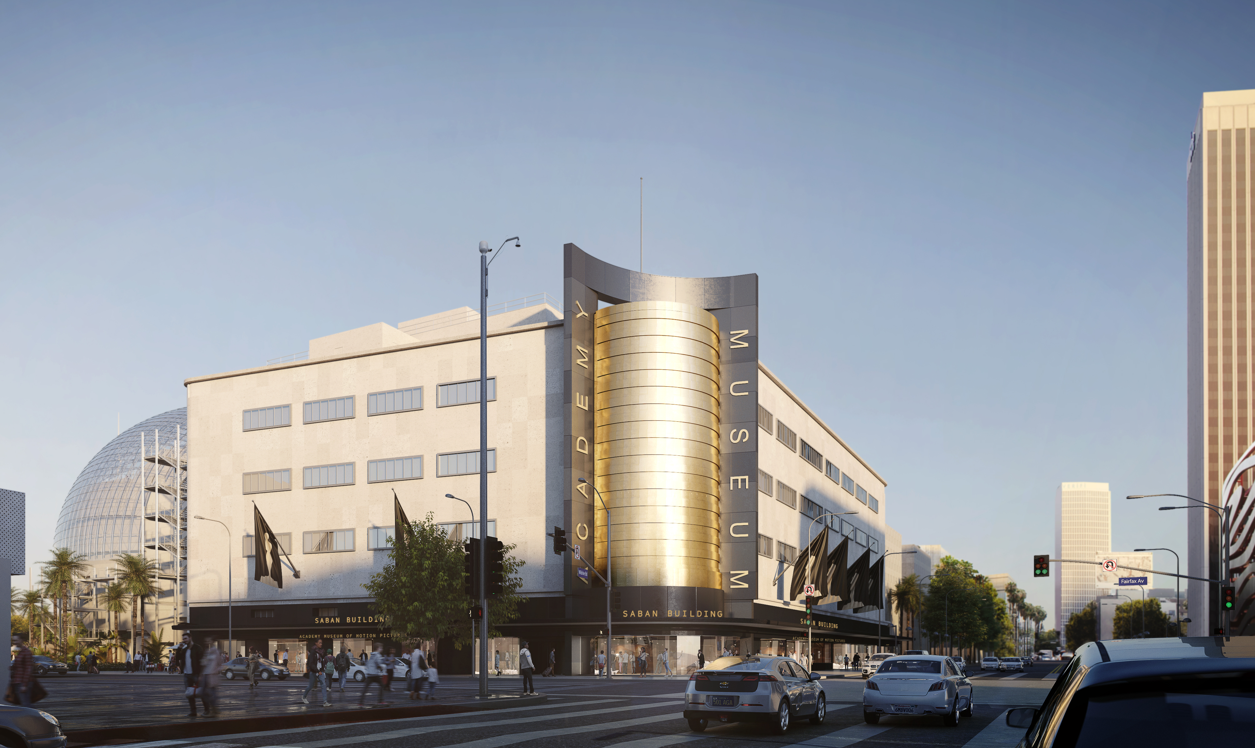 A rendering of the historic 1939 May Company Wilshire department store building, which will anchor the Academy Museum of Motion Pictures.