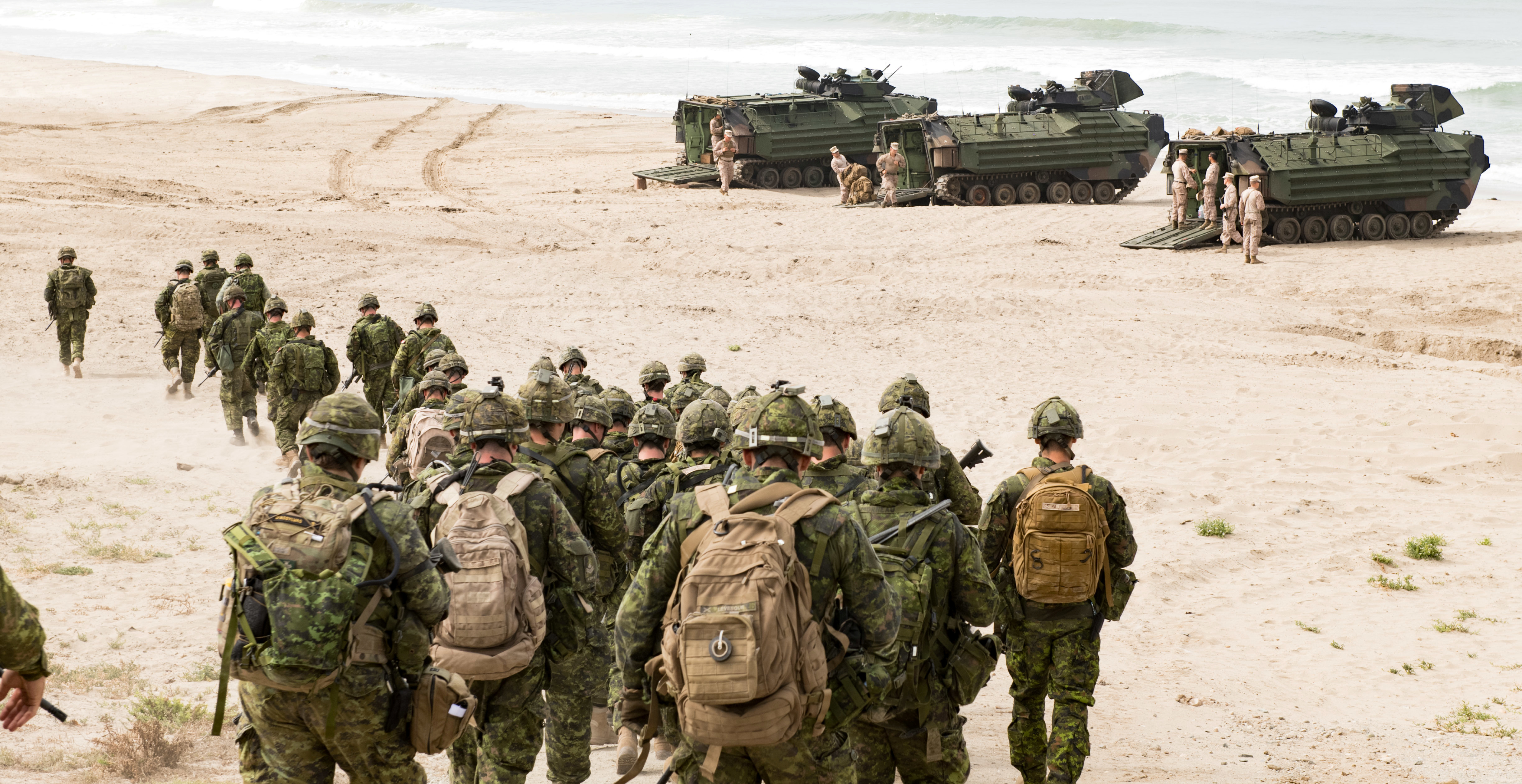 Canadian troops of the 2nd Battalion Royal 22e Regiment Bravo Company move toward amphibious assault vehicles during the biennial Rim of the Pacific (RIMPAC) exercise at Red Beach Training Area, Camp Pendelton, California, June 27, 2018. (Canadian Ar...