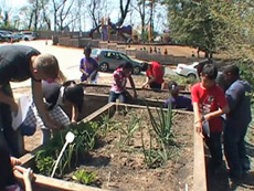 Students at E.W. Stokes Public Charter School in Washington, D.C., plant their own garden with Peter Nalli, a Farm to Desk curriculum director.