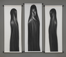 Chinese-born artist Hong Zhang's charcoal images of long, straight hair, examine her identity as an Asian-American woman.