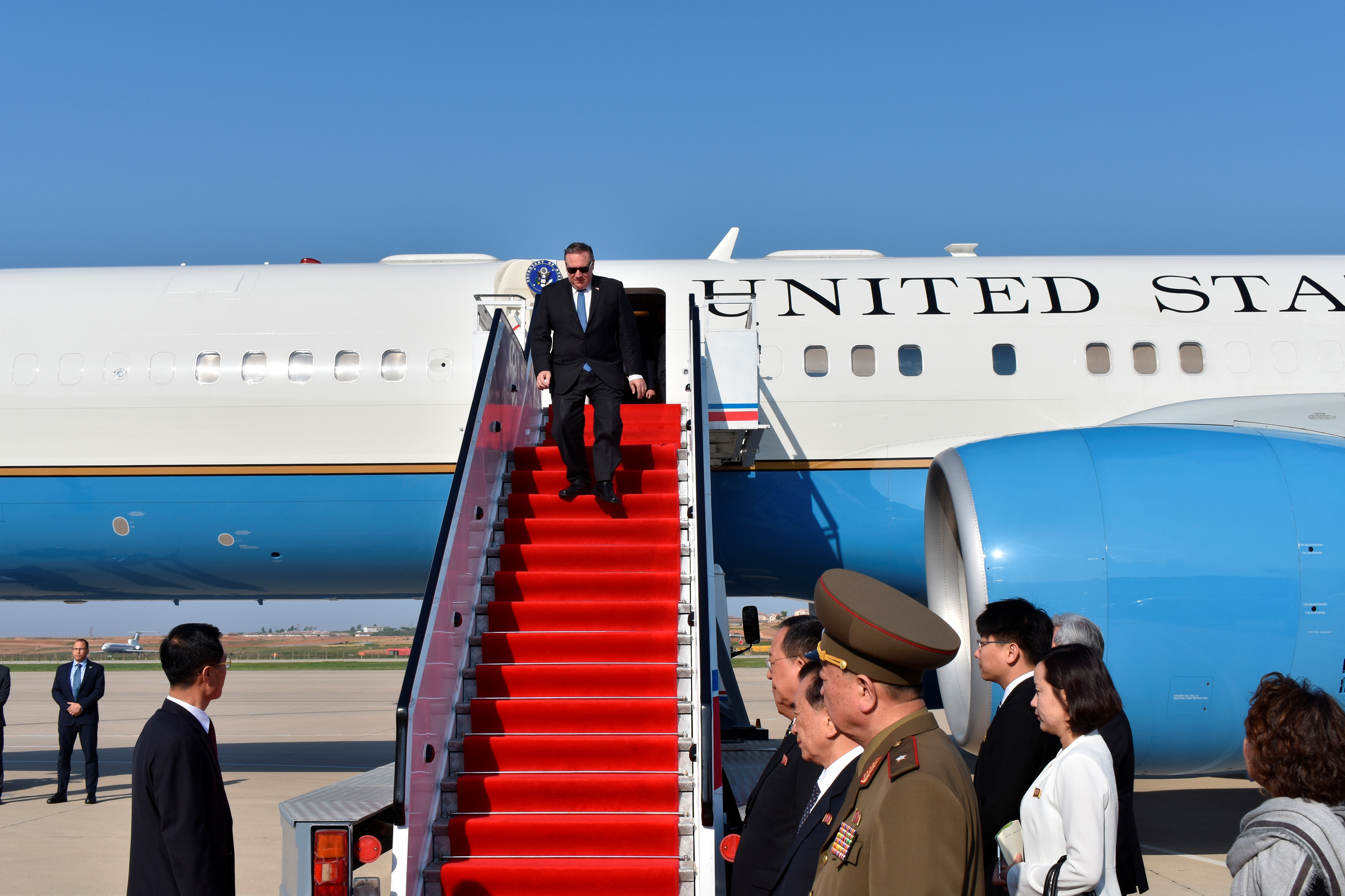 U.S. Secretary of State Mike Pompeo exits his plane on arrival in Pyongyang, North Korea, May 9, 2018.