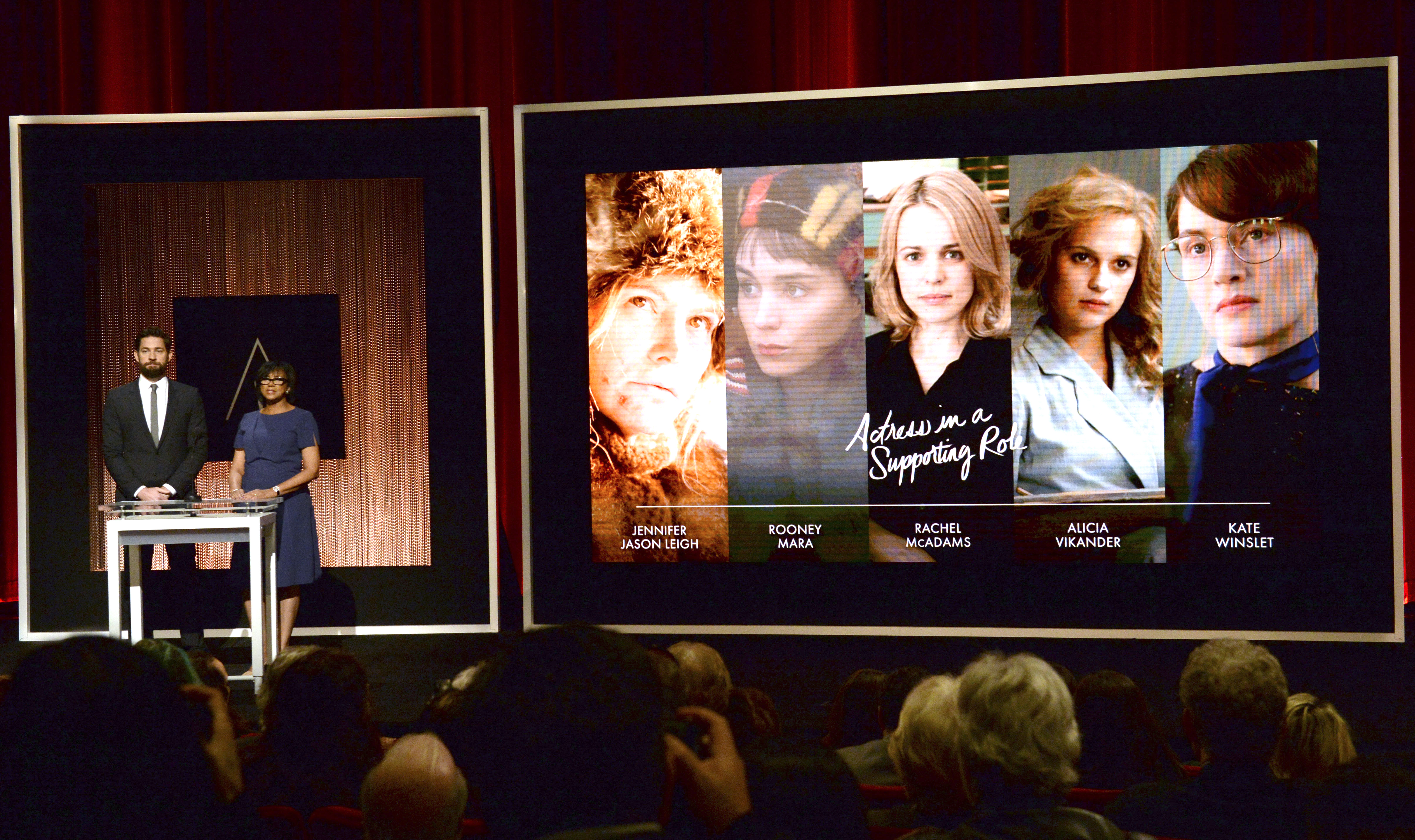 Actor John Krasinski (L) and Academy of Motion Picture Arts and Sciences President Cheryl Boone Isaacs announce the nominees for the Best Actress in a Supporting Role during the nominations announcements for the 88th Academy Awards in Beverly Hills, ...