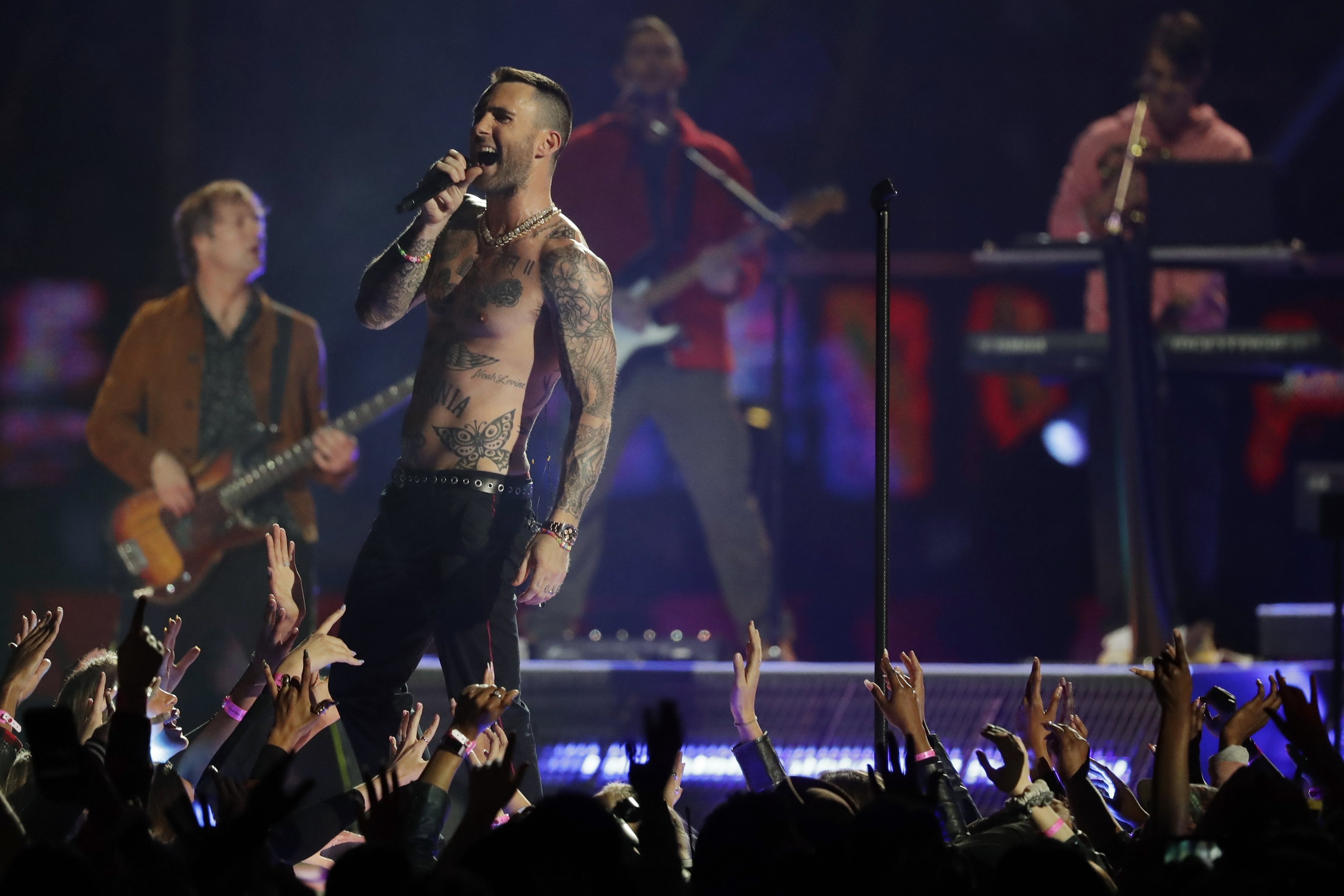 Adam Levine of Maroon 5 performs during halftime of the NFL Super Bowl 53 football game between the Los Angeles Rams and the New England Patriots Sunday, Feb. 3, 2019, in Atlanta.