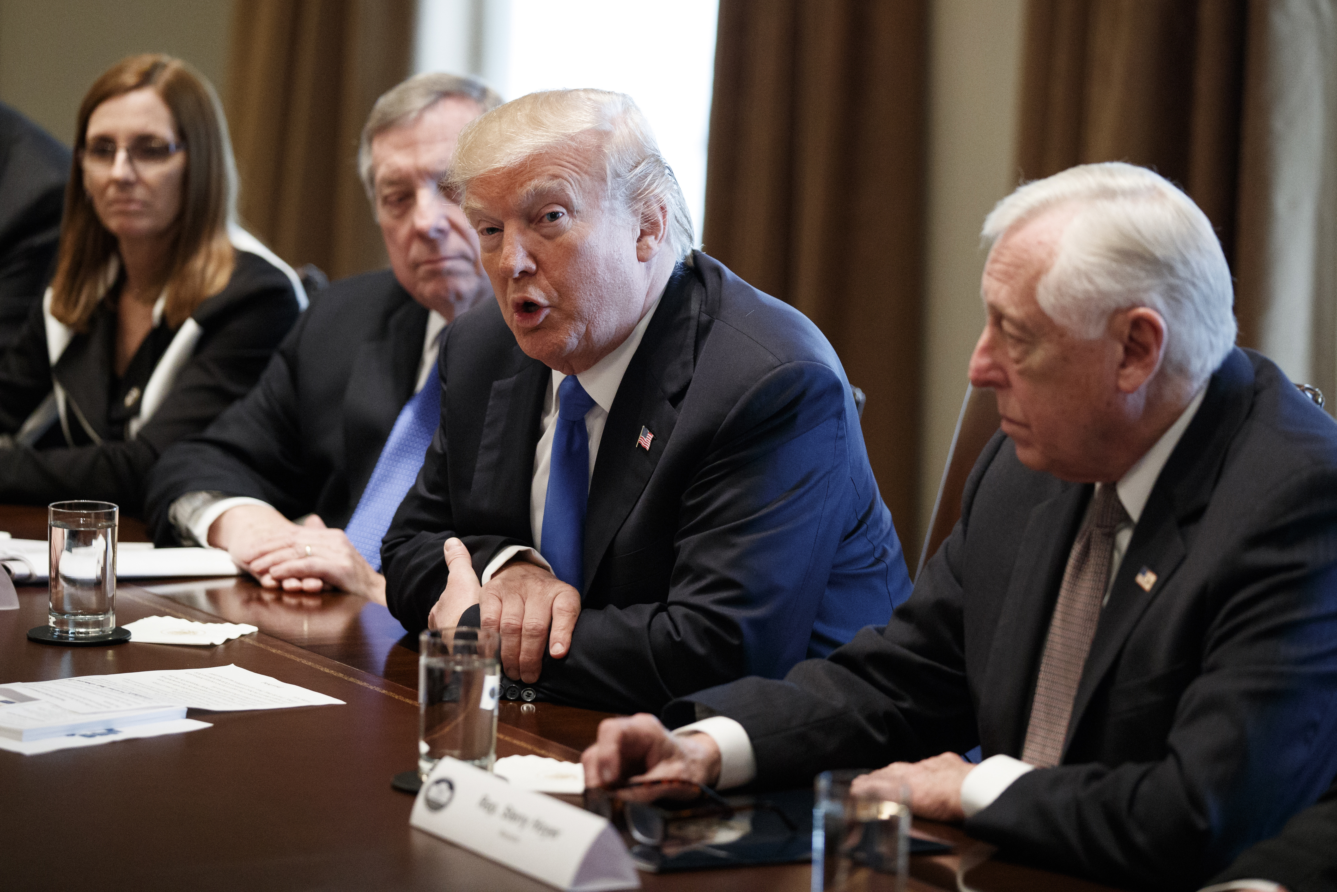 President Donald Trump speaks during a meeting with lawmakers on immigration policy in the Cabinet Room of the White House, Jan. 9, 2018, in Washington.