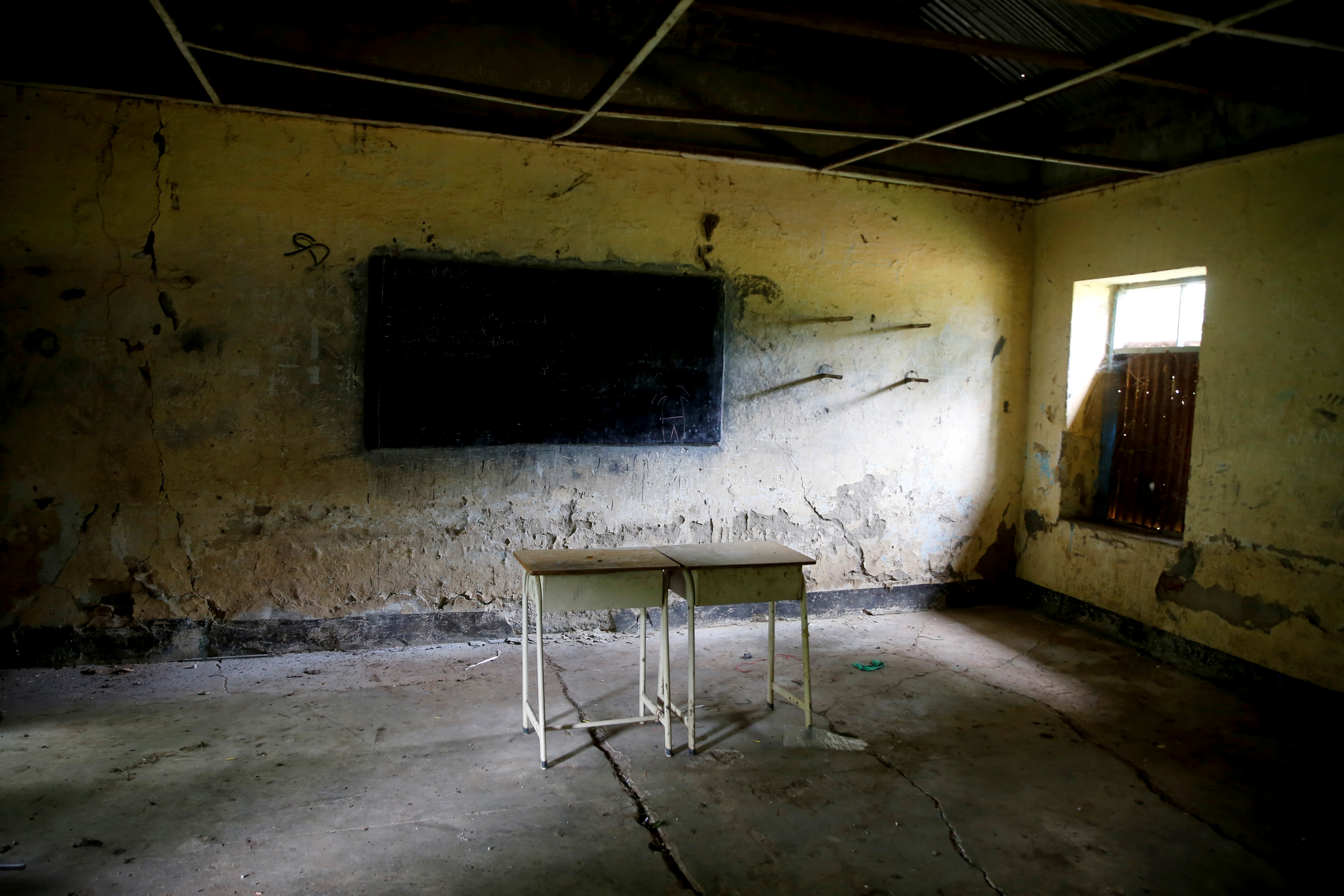 Desks are seen at an abandoned school in the town of Malakal, in the Upper Nile state of South Sudan, Sept. 8, 2018