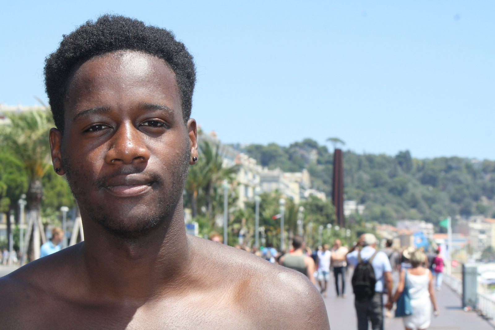 """In Nice, France, American-Congolese university student from Boston, Bahati Nkera, 20, says after terrorist attacks, """"you see many political groups push through their agenda."""" July 16, 2016. (H.Murdock/VOA)"""