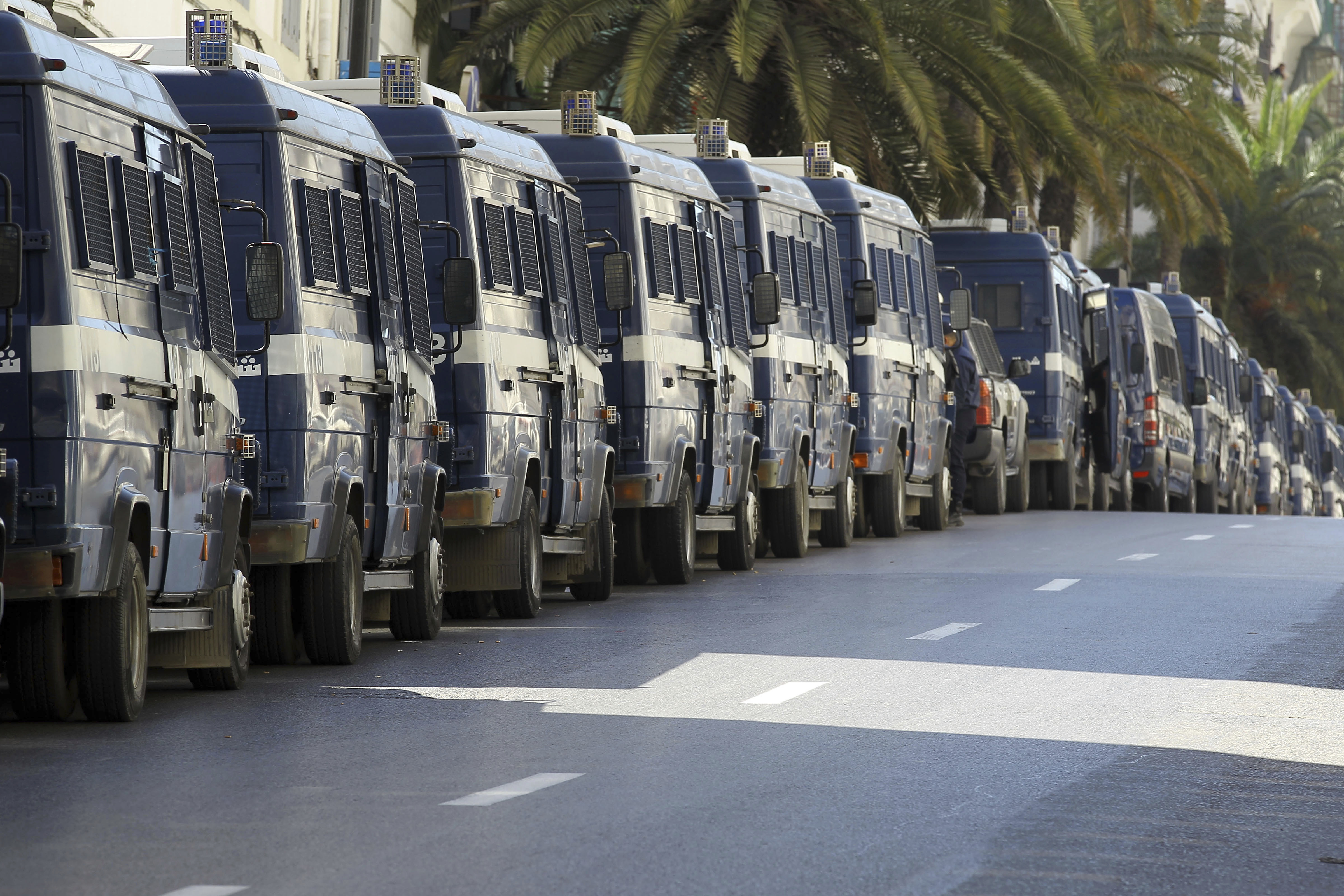 Riot police vans are lining streets around Algeria's capital during a protest in Algiers, Algeria, March 15, 2019.