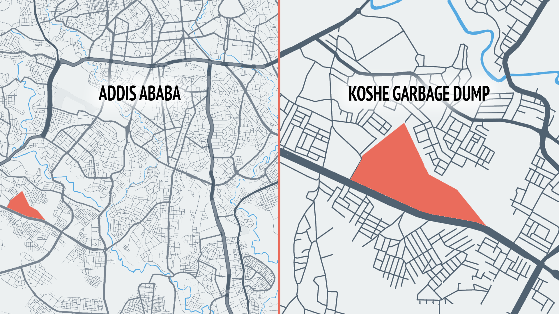 Map of Addis Ababa, Ethiopia and location of Koshe garbage dump