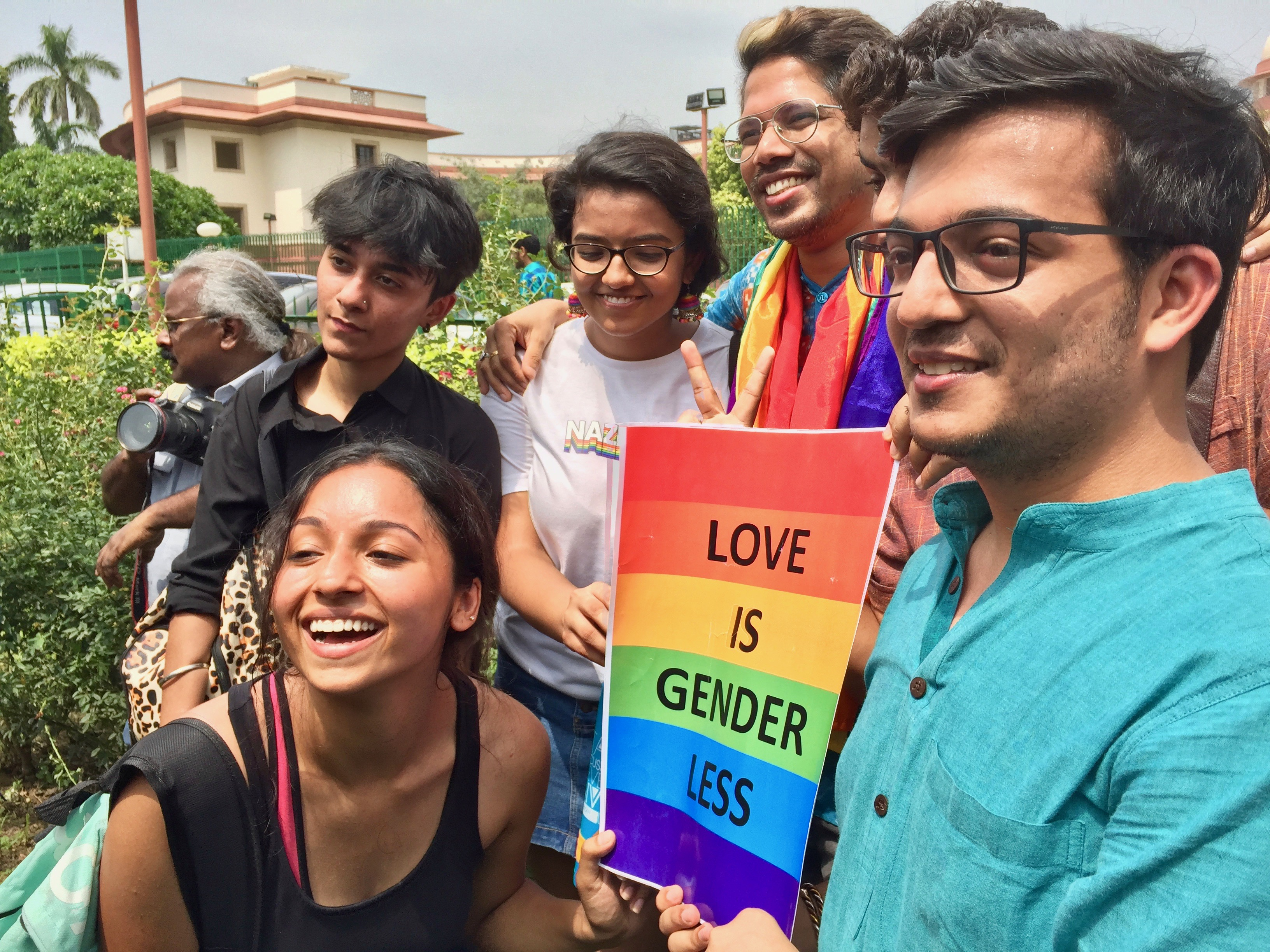 The LGBT community celebrates outside the Supreme Court in New Delhi, India, after it scrapped a law that criminalizes gay sex, Sept. 6, 2018.
