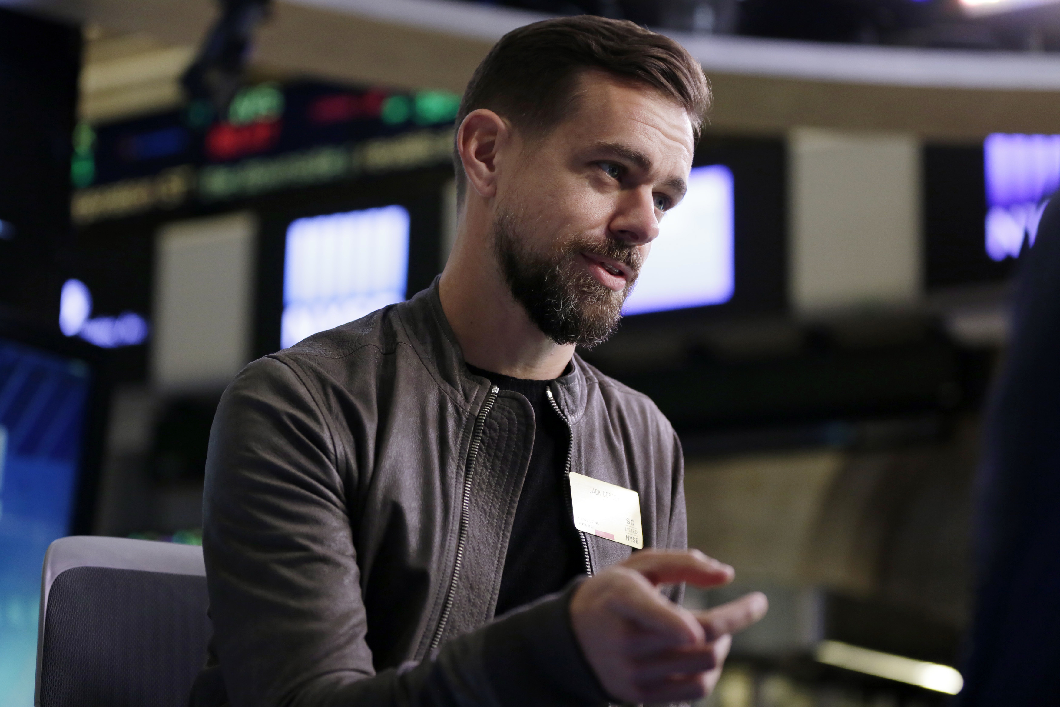 FILE - Twitter's Jack Dorsey is interviewed on the floor of the New York Stock Exchange, Nov. 19, 2015. The chief executive apologized Thursday, Nov. 17, 2016, after the service let through an ad promoting a white supremacist group.