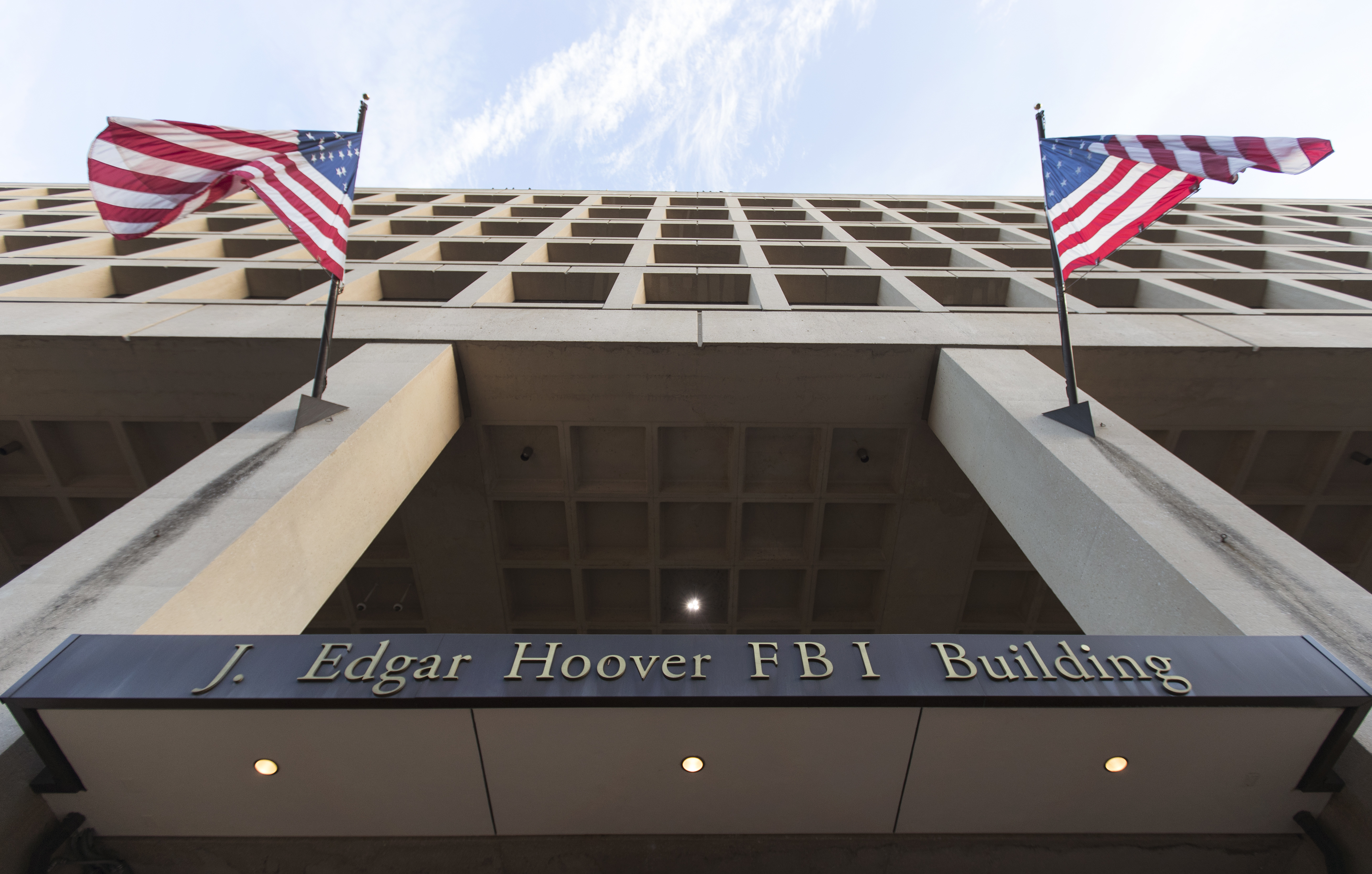 The Pennsylvania Avenue entrance of the J. Edgar Hoover Federal Bureau of Investigations (FBI) Building is seen in Washington, Nov. 30, 2017.