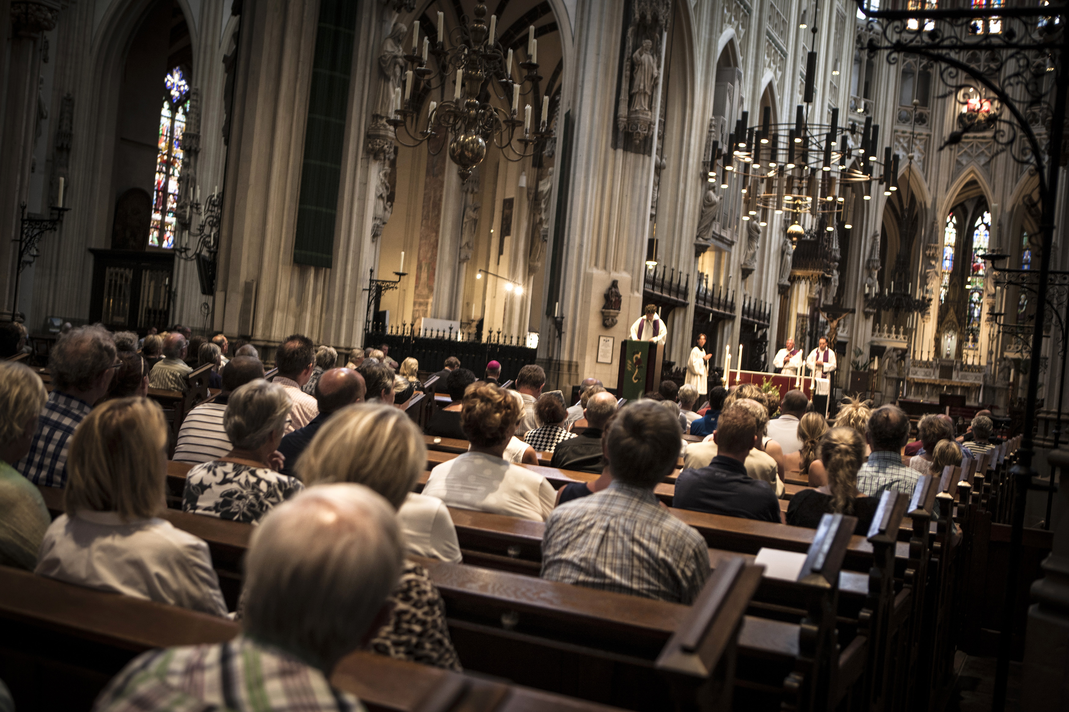 St. Jan Cathedral is filled with people attending the evening vigil for those who were killed in the Malaysia Airlines Flight MH17 plane crash, in Den Bosch, Netherlands, July 19, 2014.