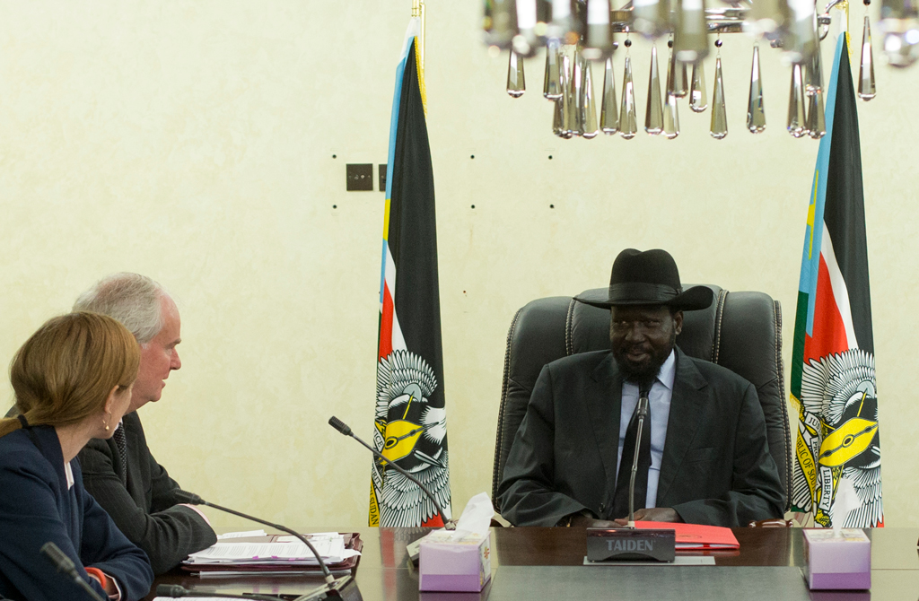 U.S. Ambassador to the United Nations Samantha Power (L), Security Council President Mark Lyall Grant (C) meet in Juba with South Sudan President Salva Kiir during a two-day visit to South Sudan in August 2014.