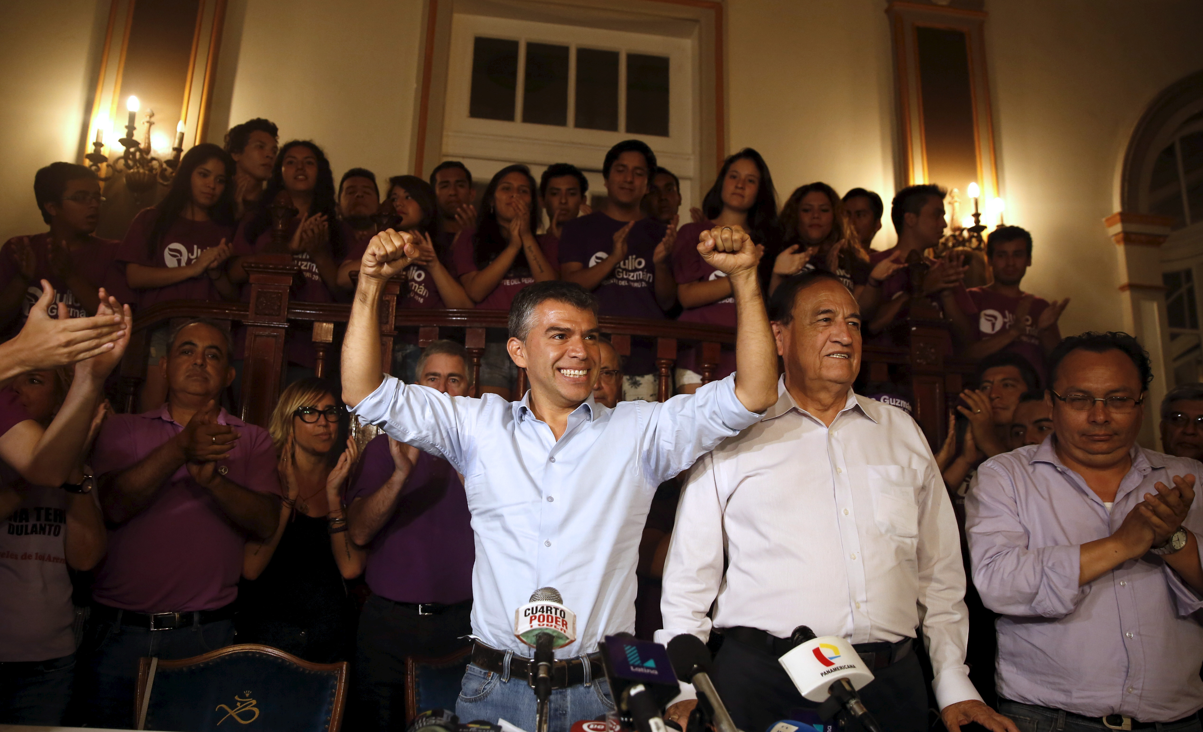 "Peru's presidential candidate Julio Guzman gestures at a news conference after the Special Jury of Elections accepted a citizen's petition to declare Guzman's candidacy ""inadmissible"" for the upcoming April elections, Lima, March 4, 2016."