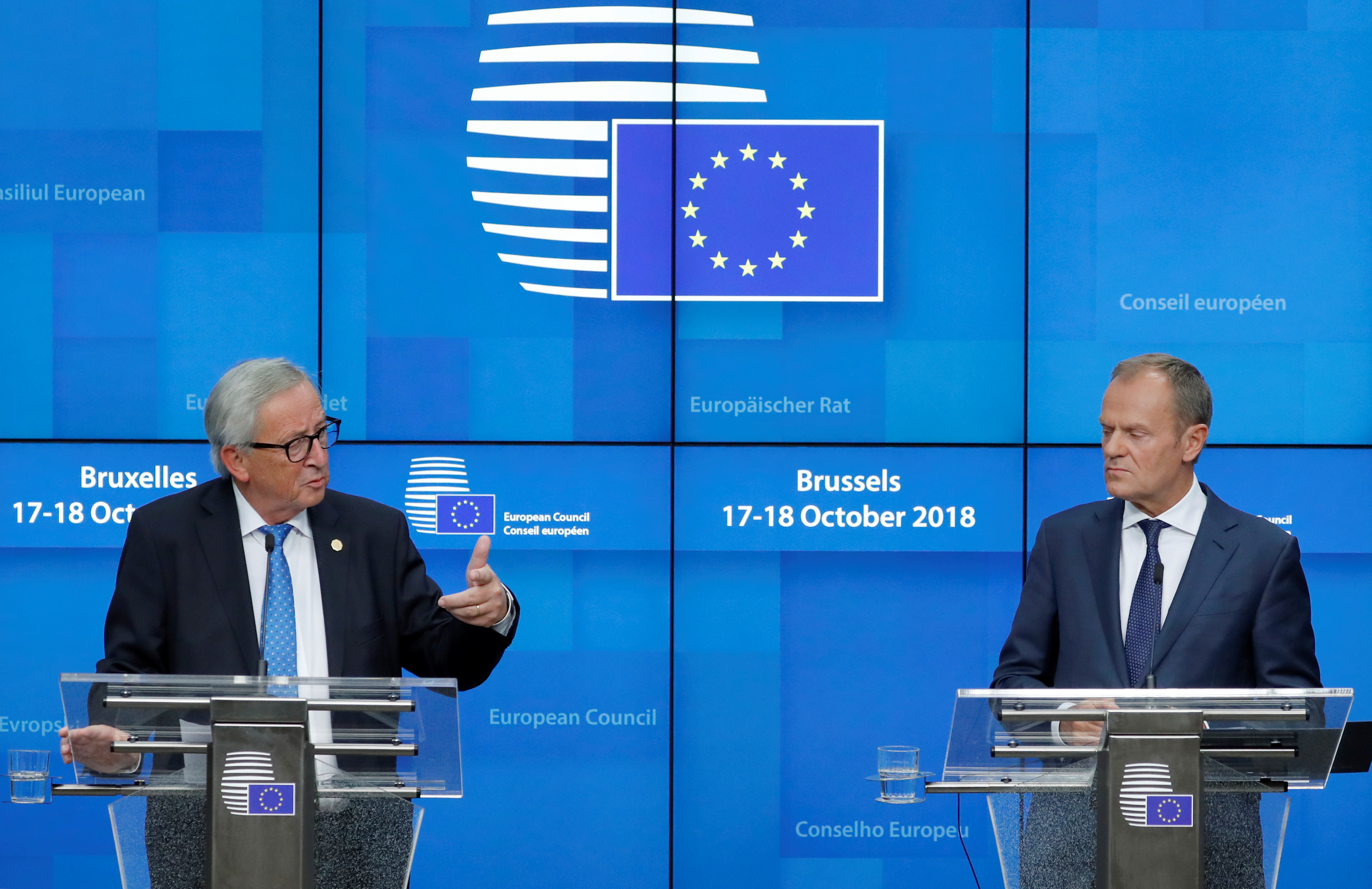 European Commission President Jean-Claude Juncker and European Council President Donald Tusk hold a news conference at the European Union leaders summit in Brussels, Belgium, Oct. 18, 2018.