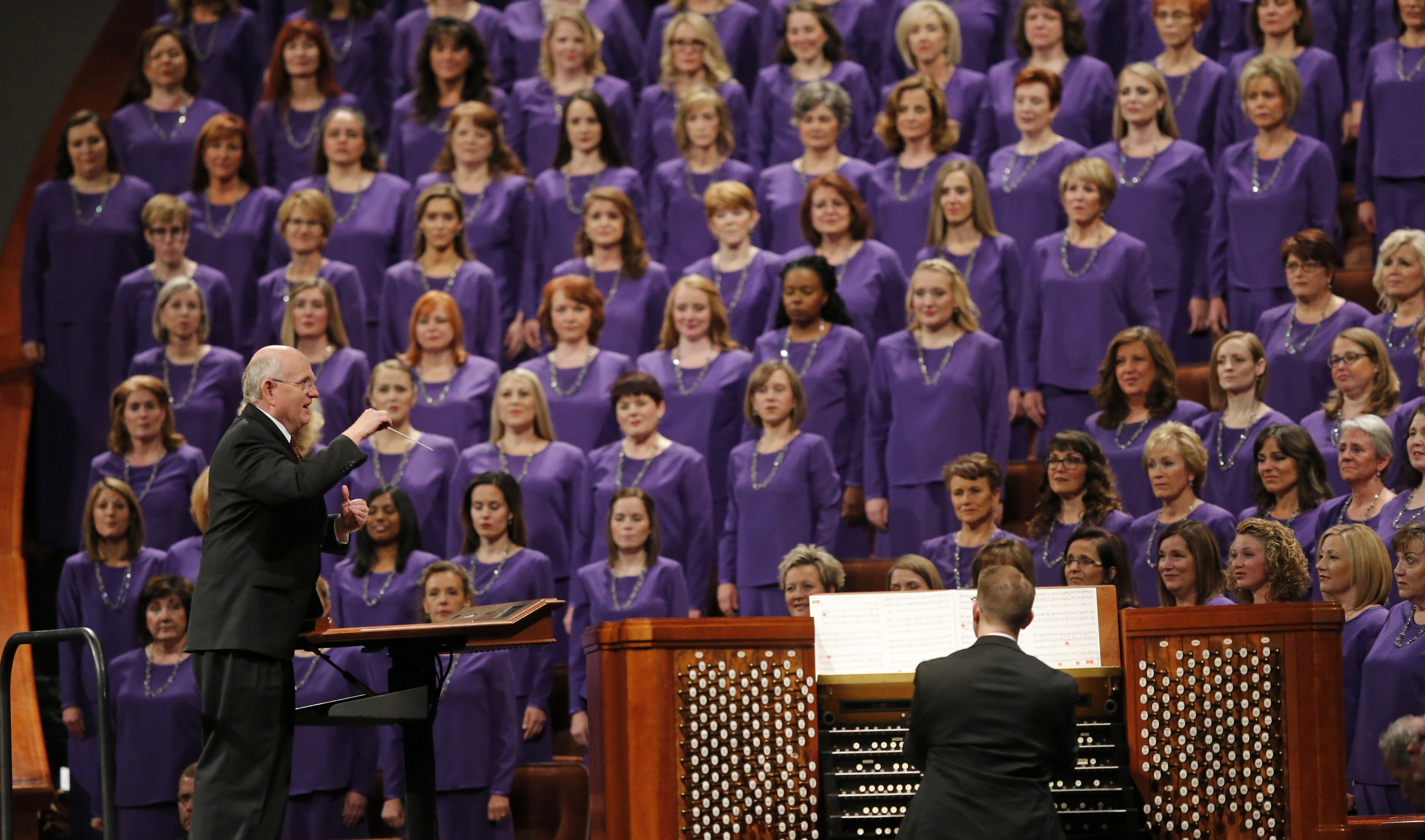 The Tabernacle Choir at Temple Square performs during the twice-annual conference of The Church of Jesus Christ of Latter-day Saints, Oct. 6, 2018, in Salt Lake City.