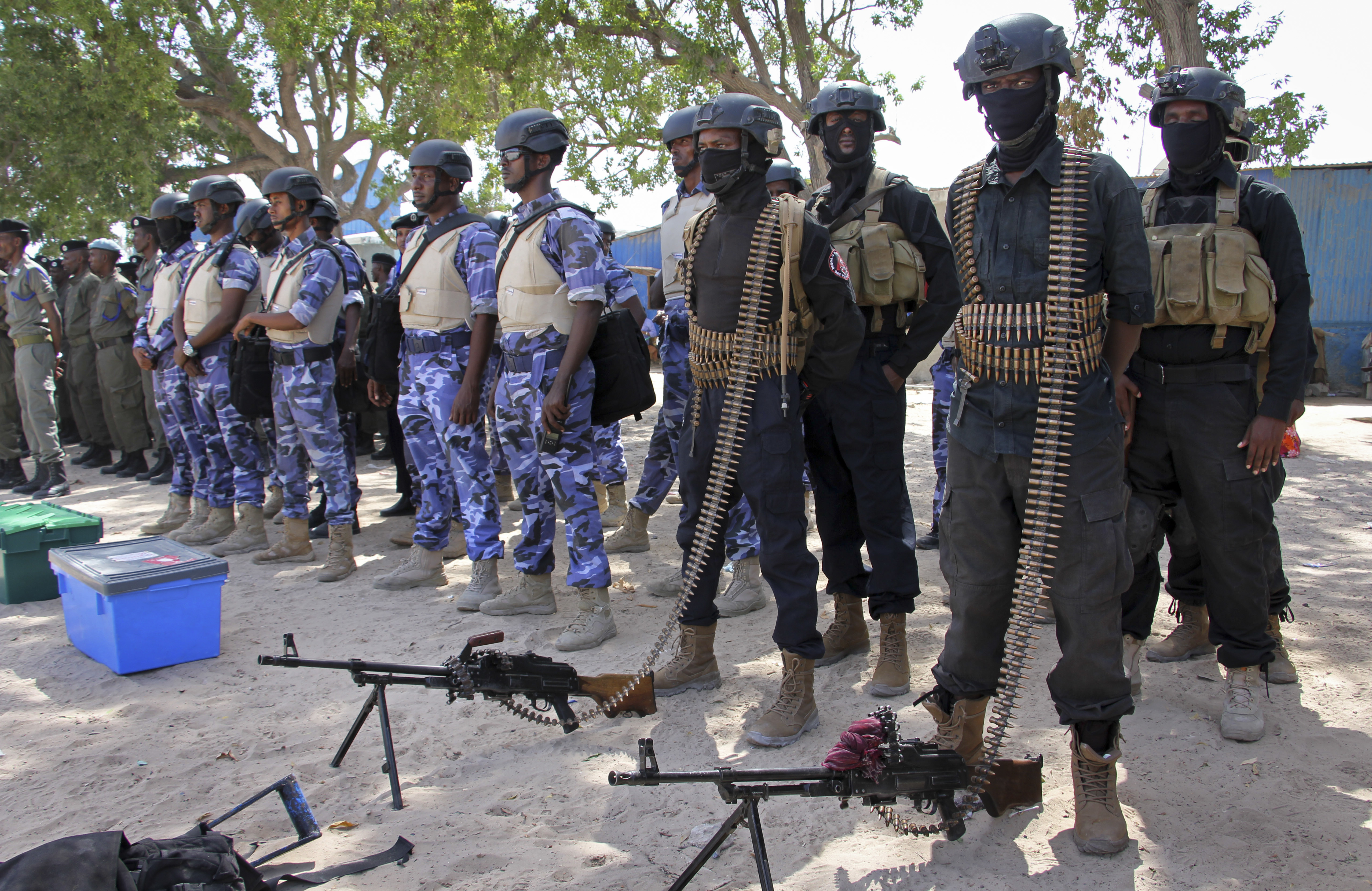 Somali soldiers prepare to secure the capital on the eve of presidential elections in Mogadishu, Feb. 7, 2017.