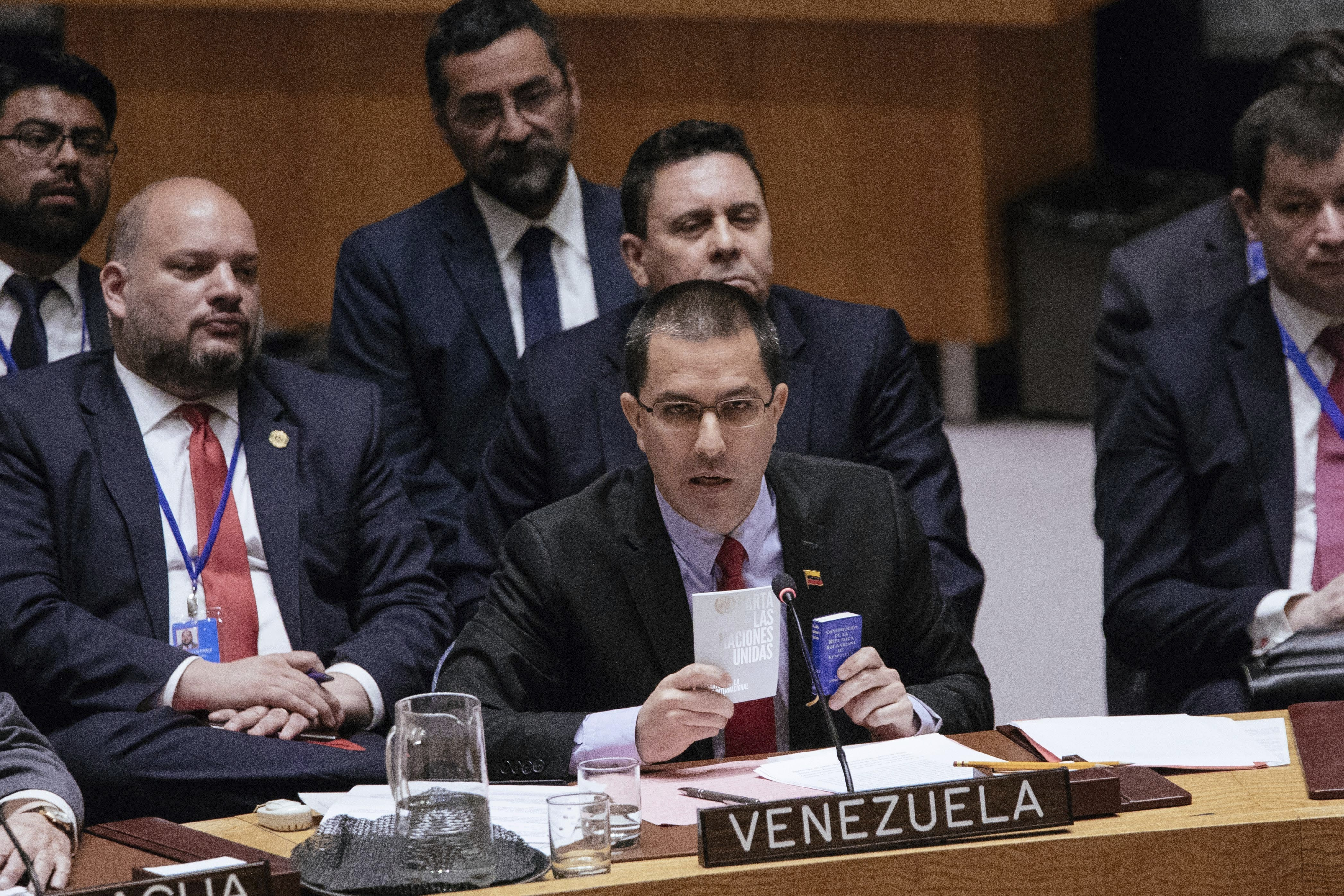 Venezuela's Minister of Foreign Affairs Jorge Arreaza speaks during the United Nations Security Council at the U.N., Jan. 26, 2019, in New York. During the meeting, U.S. Secretary of State Mike Pompeo encouraged the council to recognize Juan Guaido a...