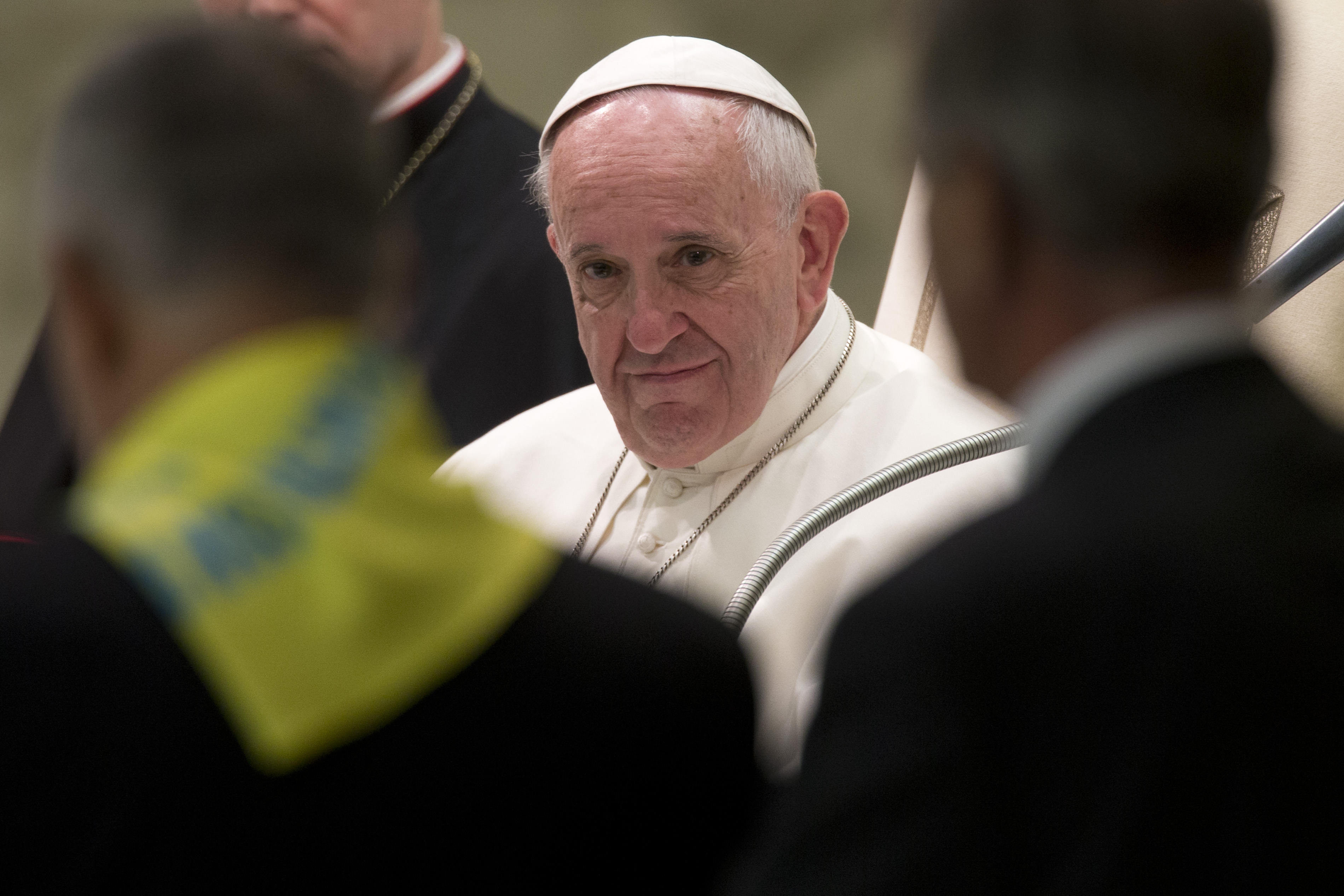 Pope Francis meets with members of the Don Guanella charity organization at the Vatican, Nov. 12, 2015. The flare-up of Vatican scandals doesn't seem to have disturbed the pontiff.