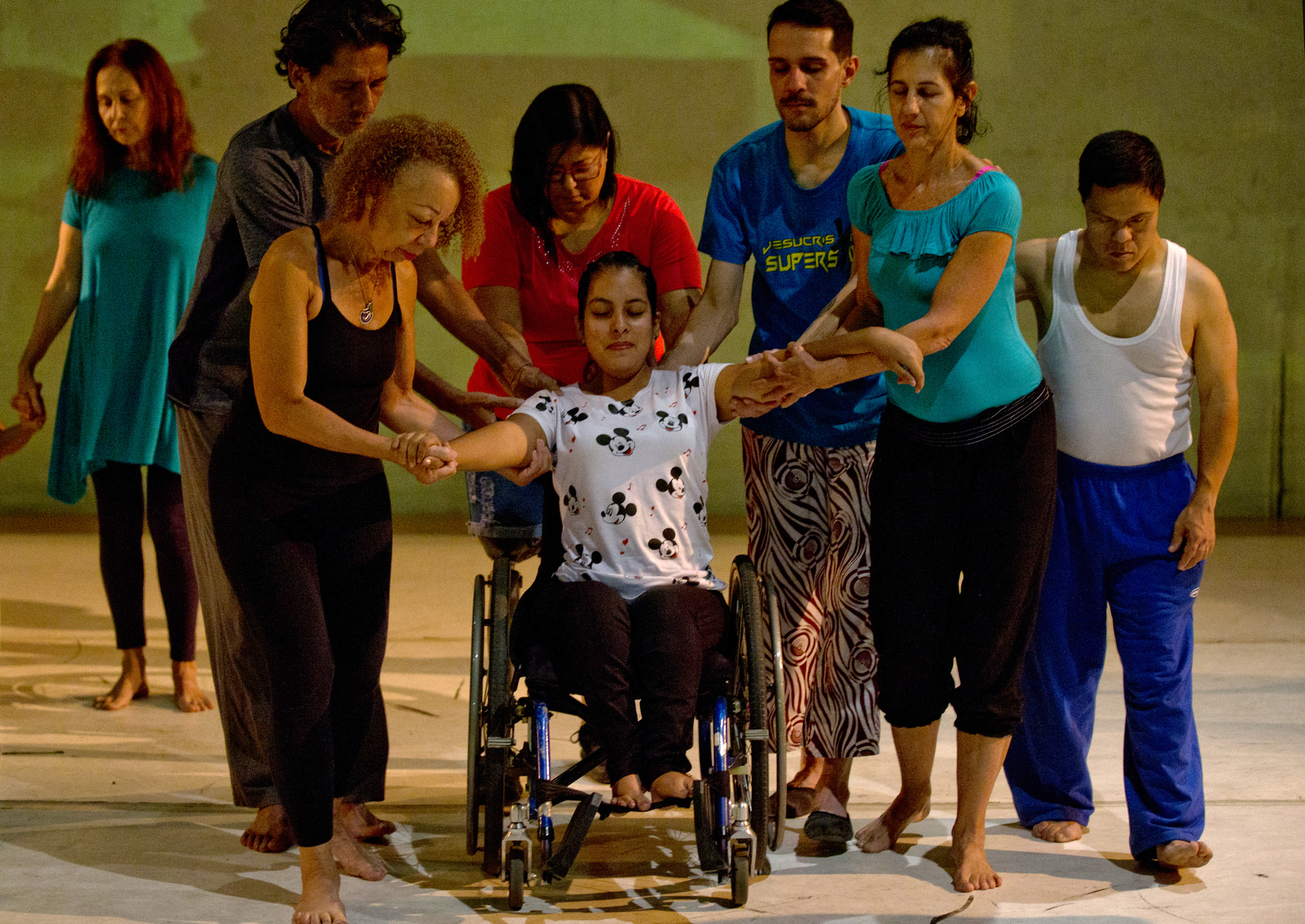 Dancers practice prior to their last performance in the contemporary dance production Ubuntu, at the Teresa Carreno Theater in Caracas, Venezuela, Dec. 4, 2018.
