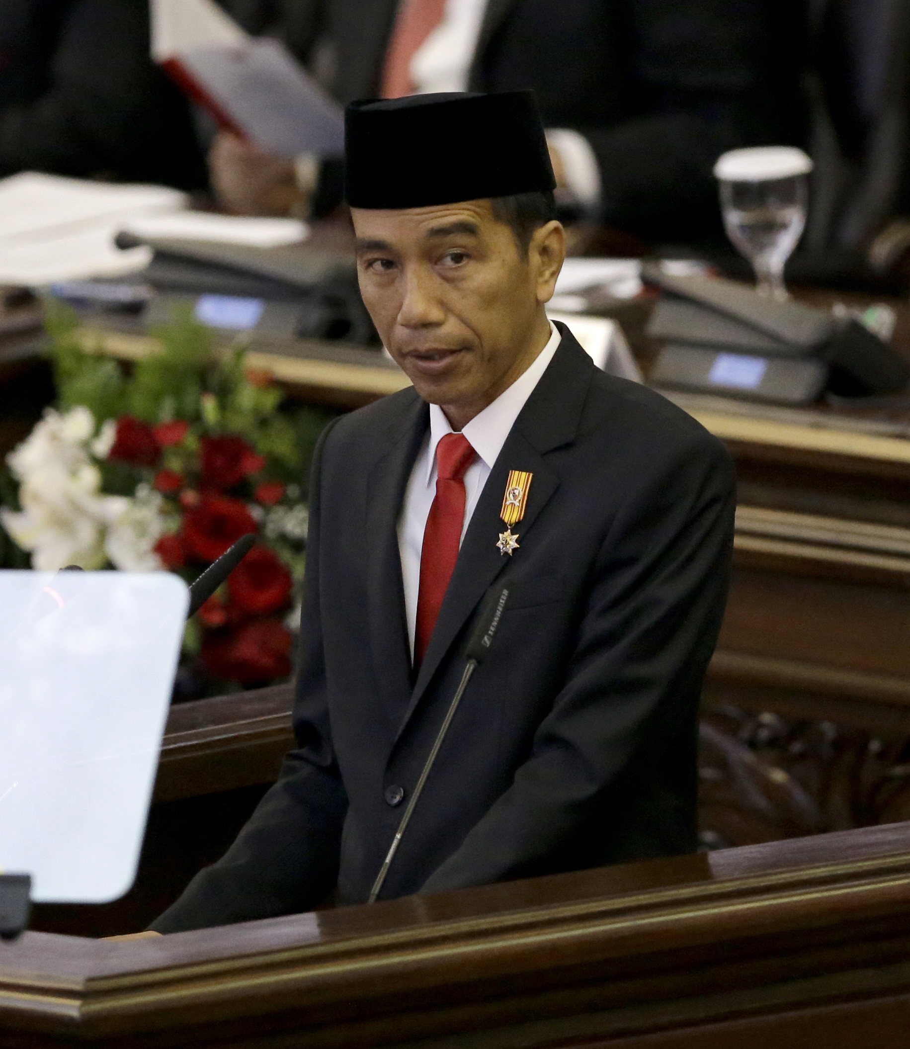 "Indonesian President Joko ""Jokowi"" Widodo delivers his speech before Parliament members ahead of the country's Independence Day in Jakarta, Indonesia, Aug. 14, 2015."