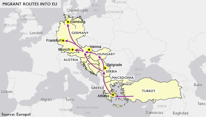 Migrant routes into EU