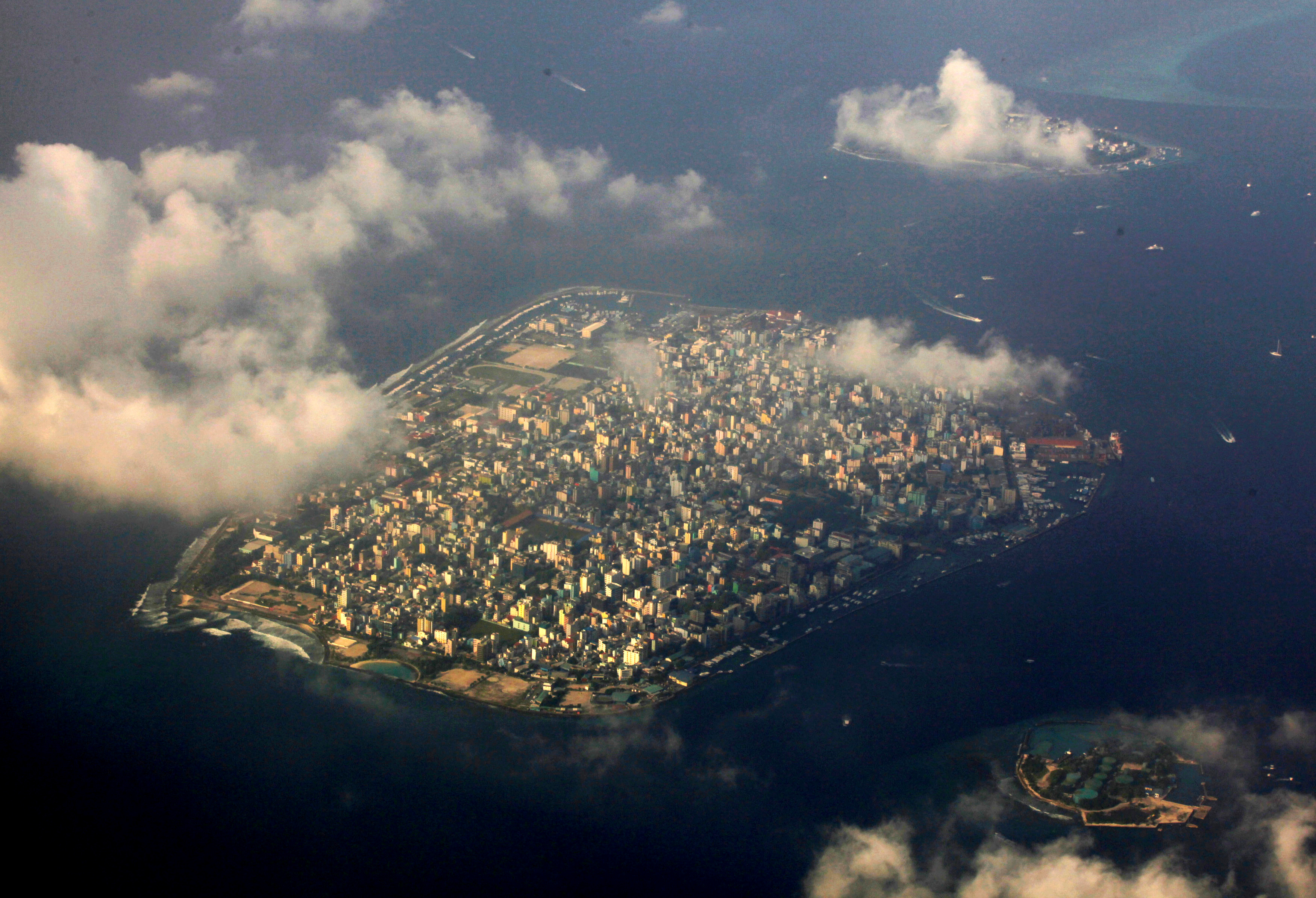 FILE - An aerial view of Maldives capital Male, Dec. 9, 2009.