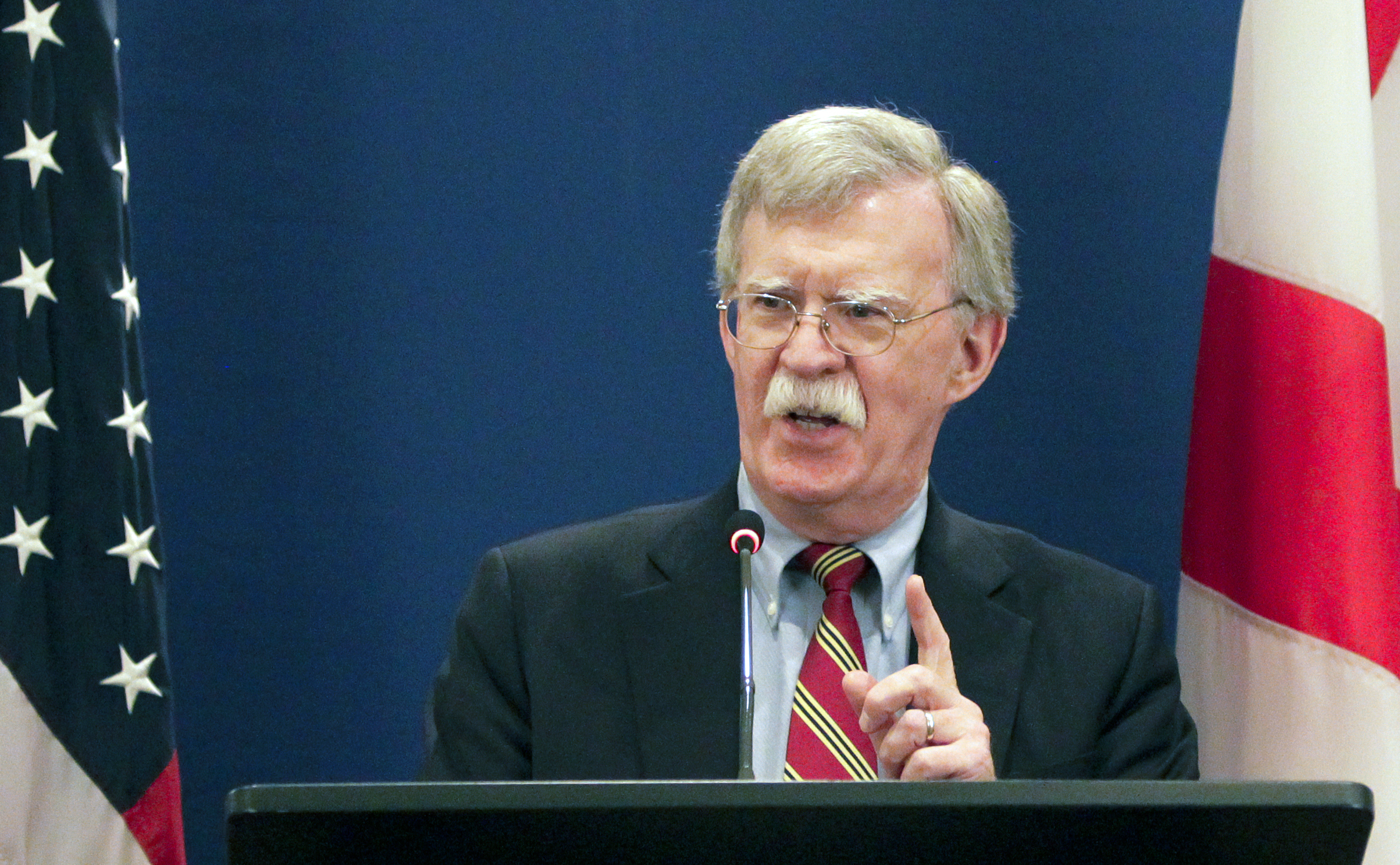 U.S. National security adviser John Bolton gestures while speaking to the media during a news briefing following his meetings with Georgian officials in Tbilisi, Georgia, Oct. 26, 2018.