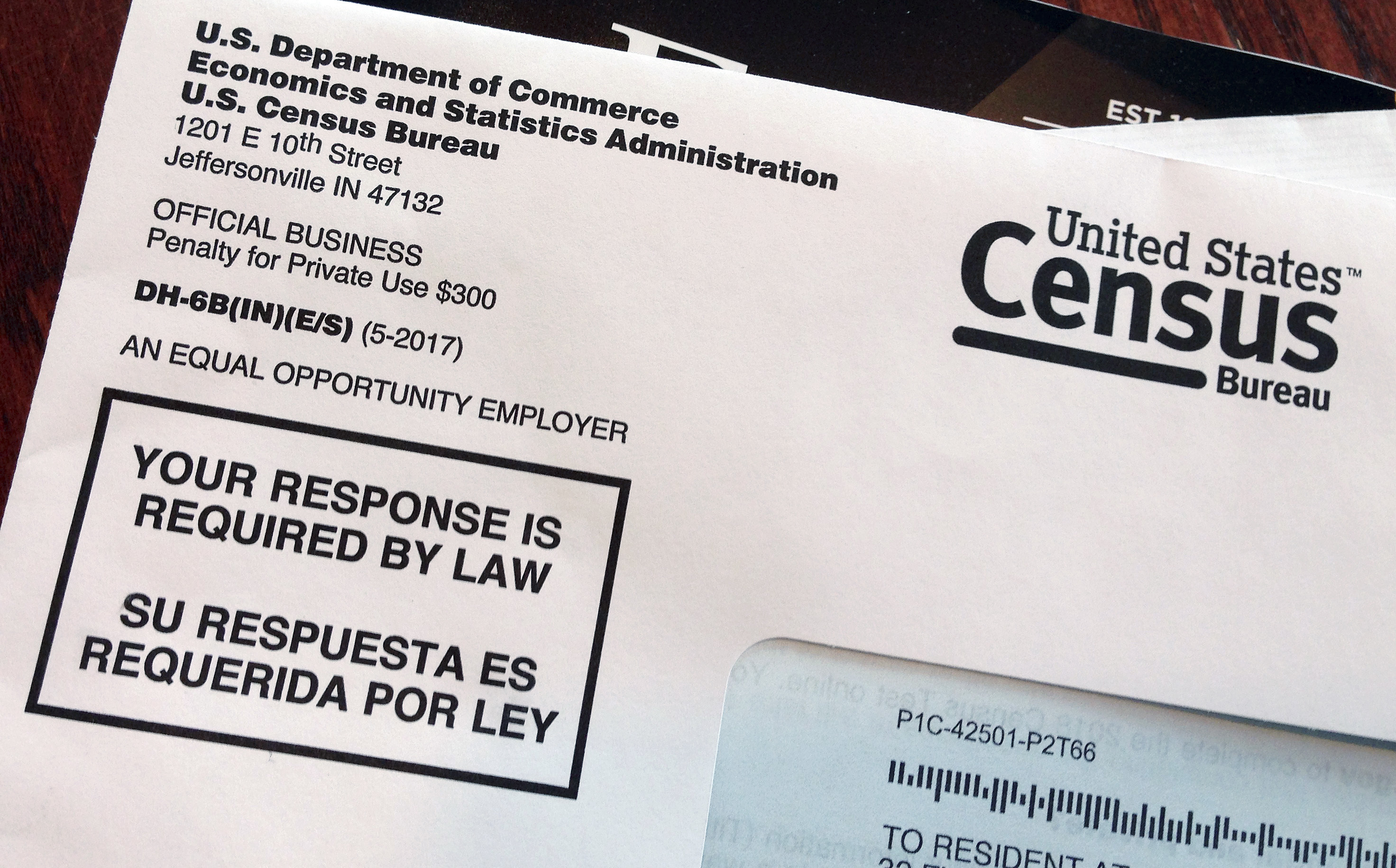 This March 23, 2018, photo shows an envelope containing a 2018 census test letter mailed to a resident in Providence, R.I. The nation's only test run of the 2020 Census is in Rhode Island, and it's drawing concerns from community leaders, good-govern