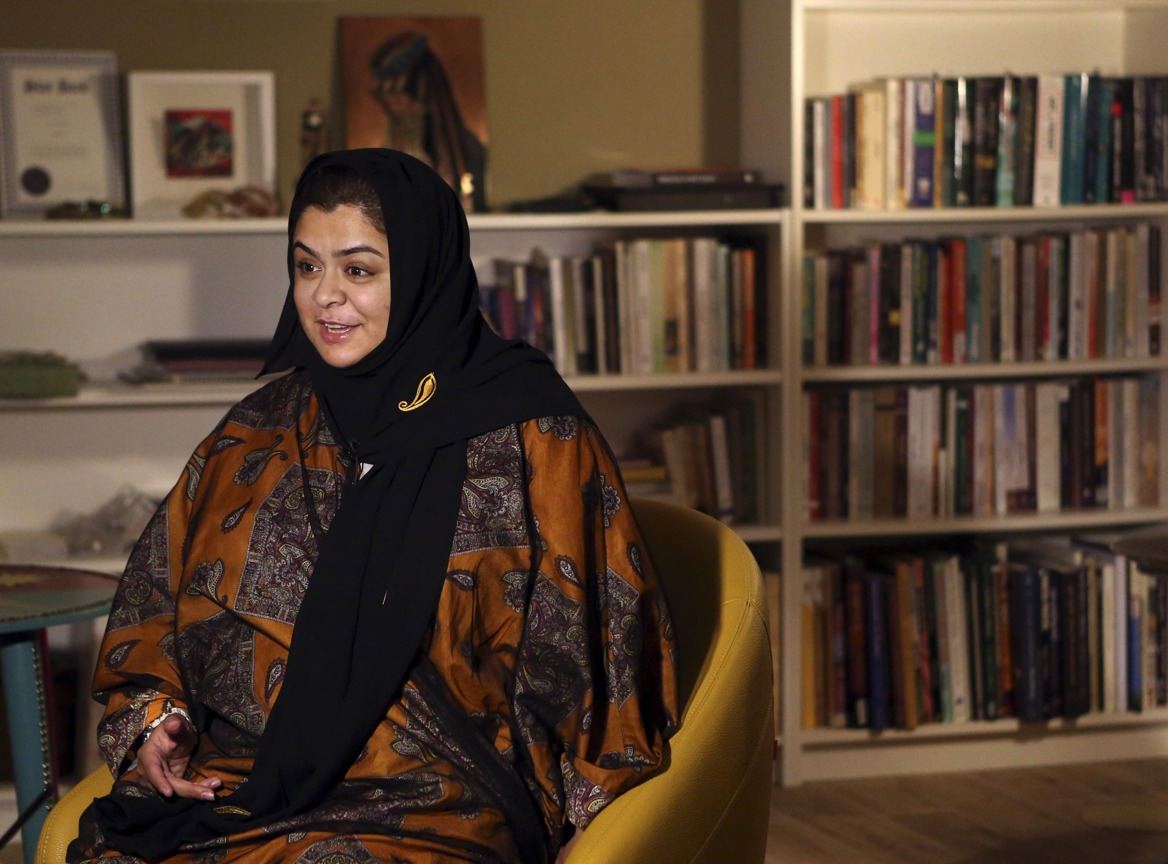 Dr. Haifa al-Hababi, a candidate for Saudi  municipal elections speaks during an interview with The Associated Press in Riyadh, Dec. 11.