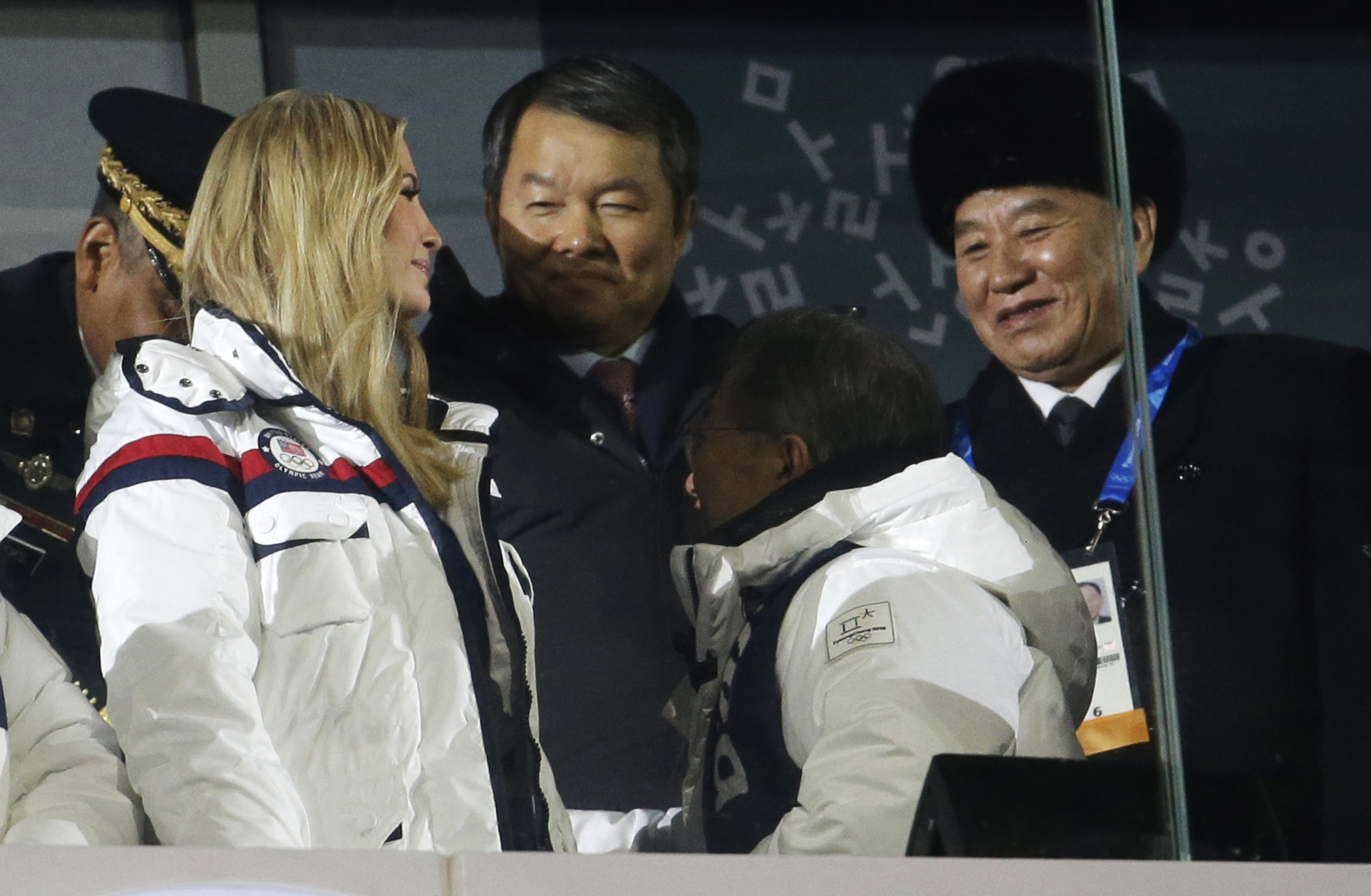 Ivanka Trump, left, and Kim Yong Chol, vice chairman of North Korea's ruling Workers' Party Central Committee, right, attend the closing ceremony of the 2018 Winter Olympics in Pyeongchang, South Korea, Feb. 25, 2018.