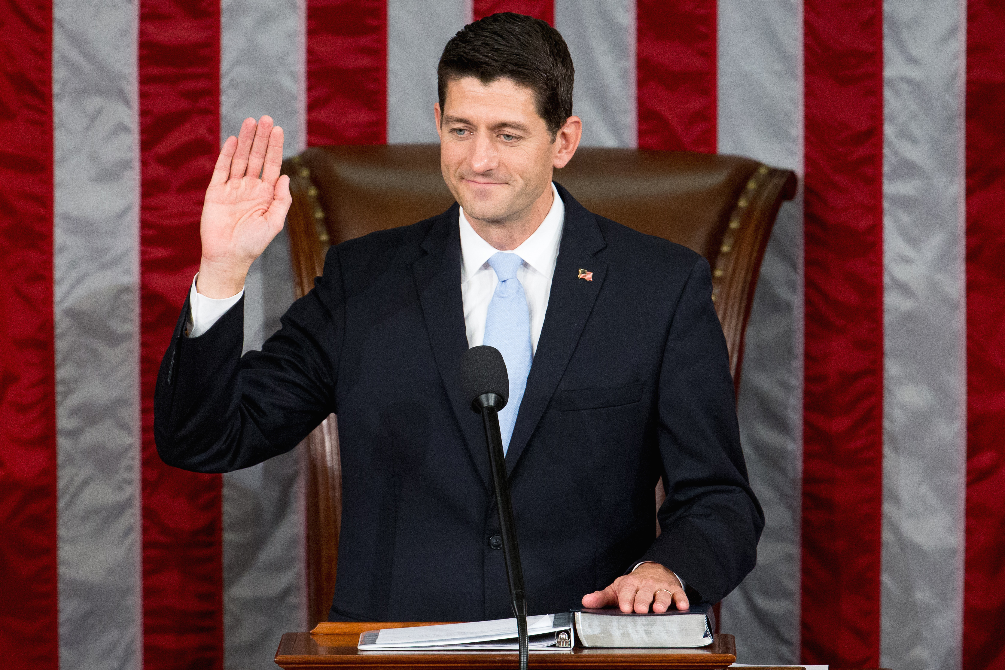 Newly elected House Speaker Paul Ryan of Wisconsin takes the oath of office in the House Chamber on Capitol Hill in Washington, Oct. 29, 2015.
