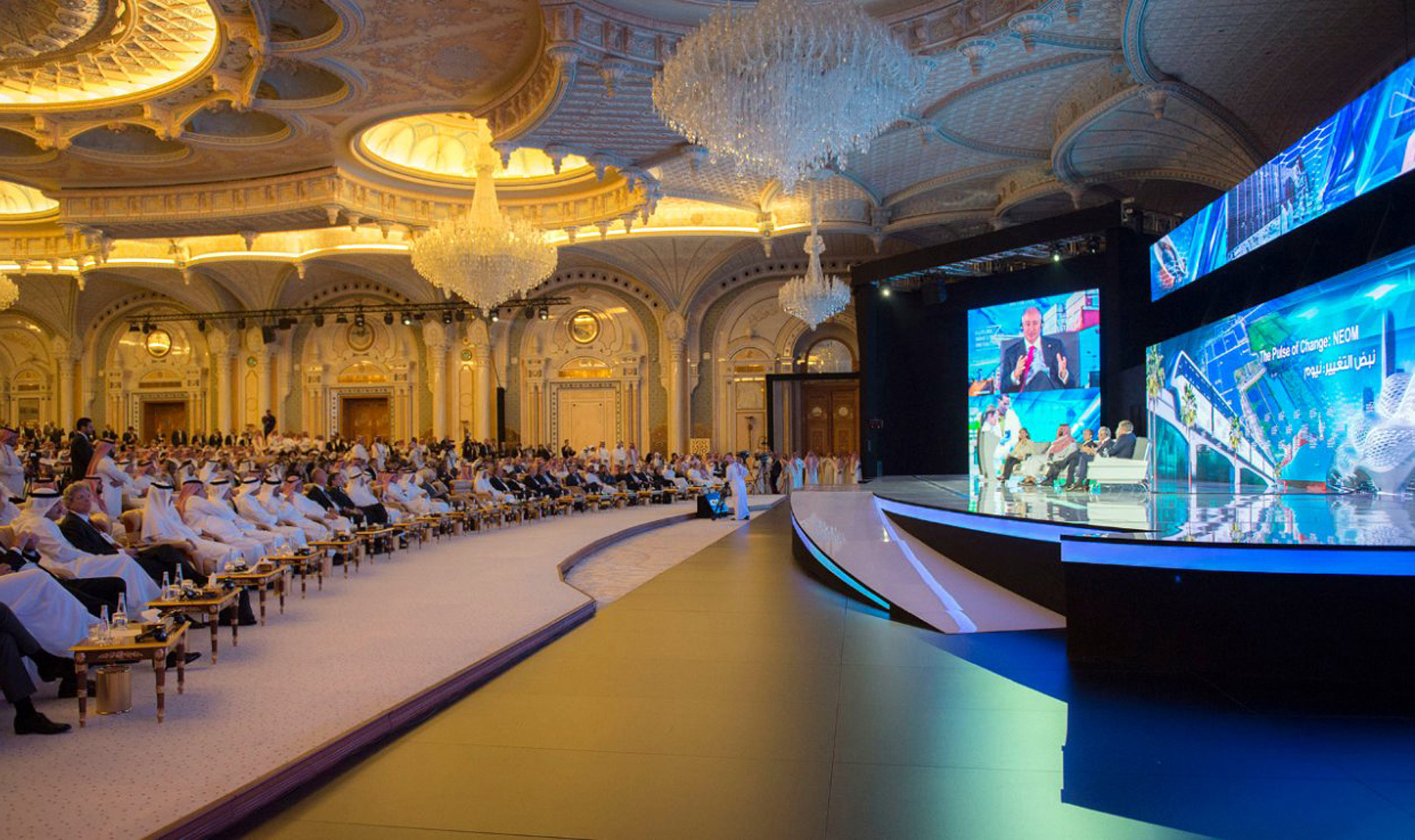 FILE - In this photo released by Saudi Press Agency, SPA, Saudi Crown Prince Mohammed bin Salman and the others attend the opening ceremony of Future Investment Initiative Conference in Riyadh, Saudi Arabia, Oct. 24, 2017.