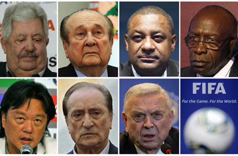 Thje FIFA executives indicted include , top, from left, Rafael Esquivel, Nicolas Leoz, Jeffrey Webb and Jack Warner. Bottom, from left, Eduardo Li, Eugenio Figueredo and Jose Maria Marin.