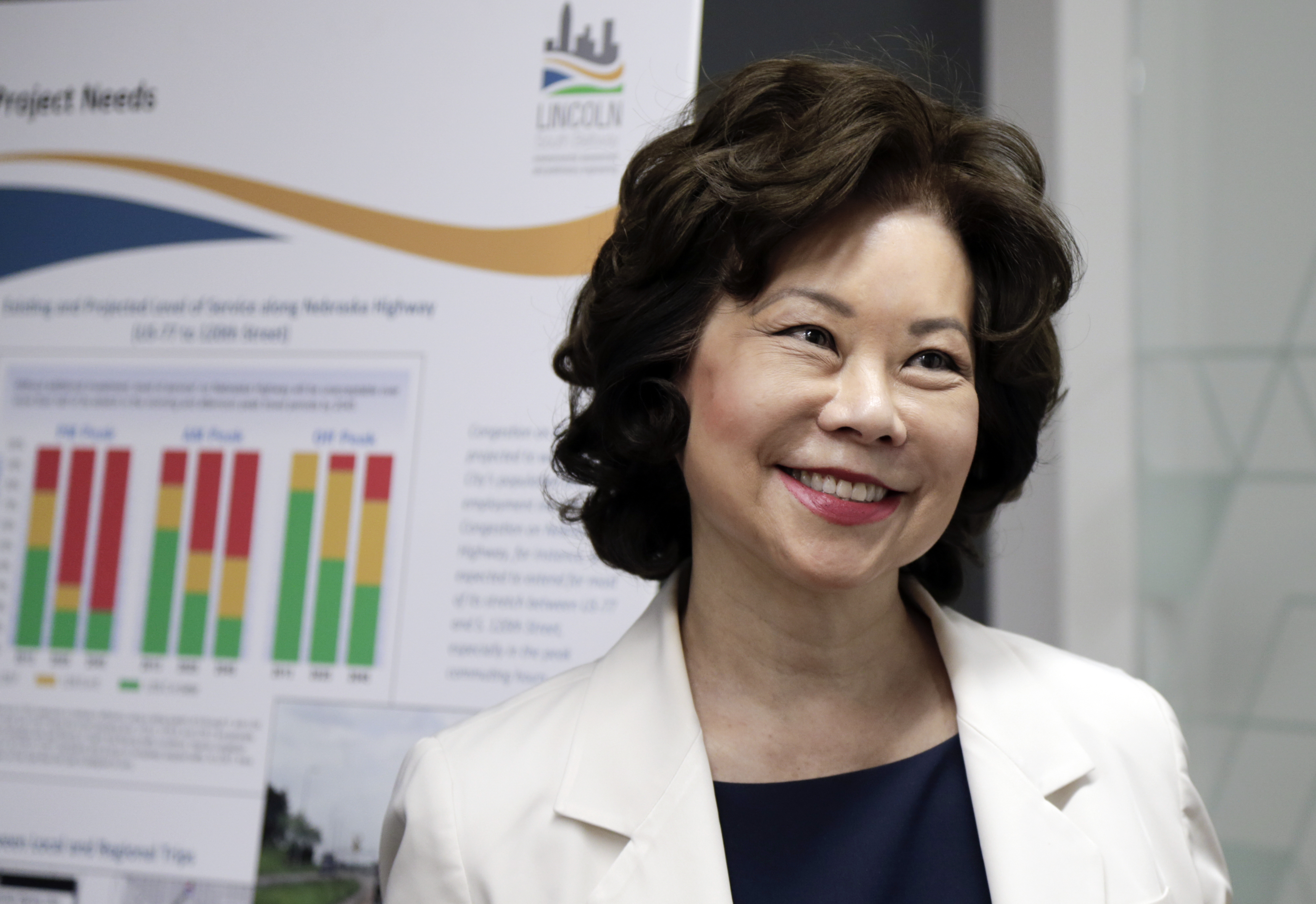 U.S. Transportation Secretary Elaine L. Chao smiles as she is briefed on the Lincoln, Neb., South Beltway Tiger Project, during a visit to Omaha, Neb.,  July 3, 2018.