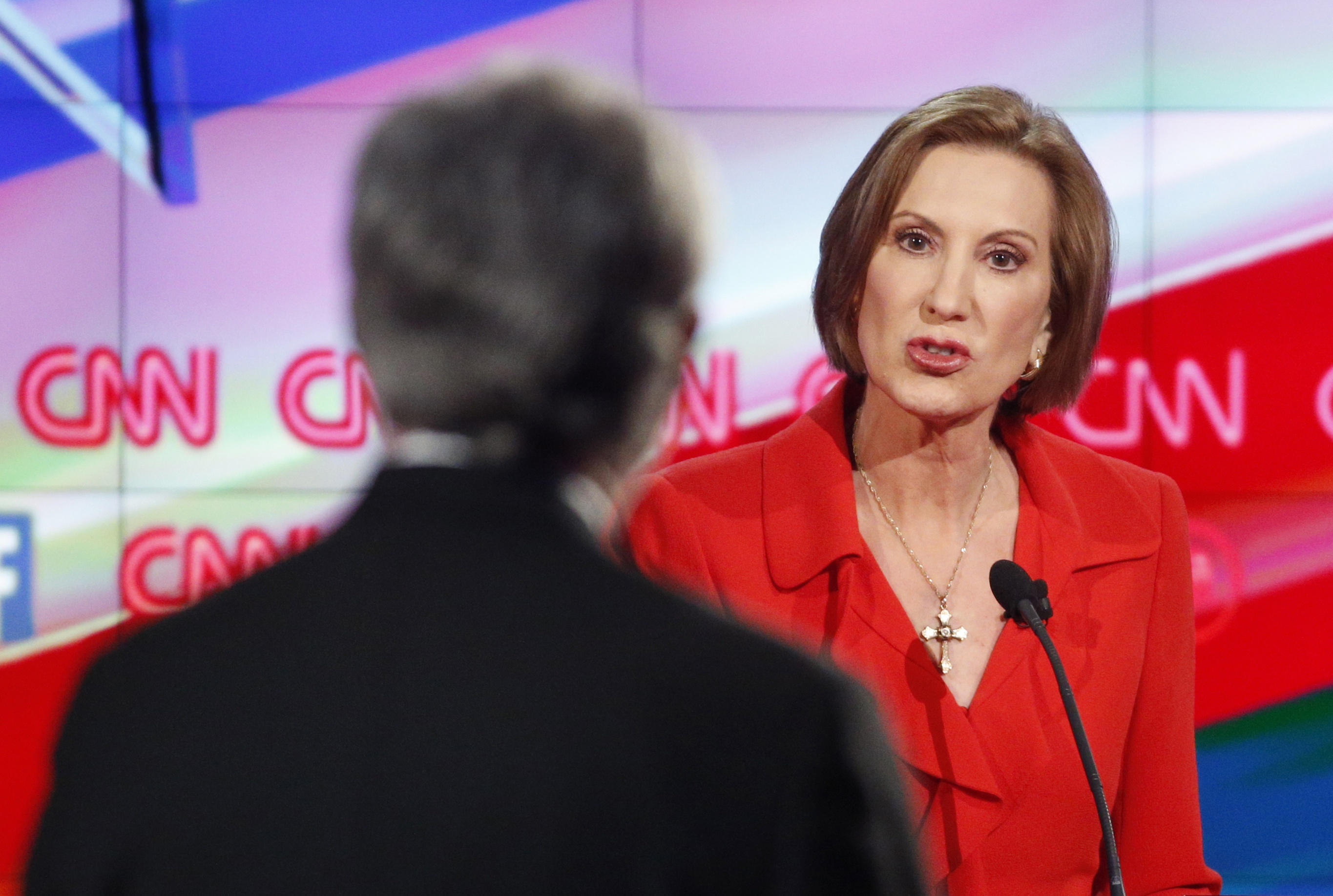Carly Fiorina responds to debate moderator Wolf Blitzer during the CNN Republican presidential debate at the Venetian Hotel & Casino on Dec. 15, 2015, in Las Vegas.