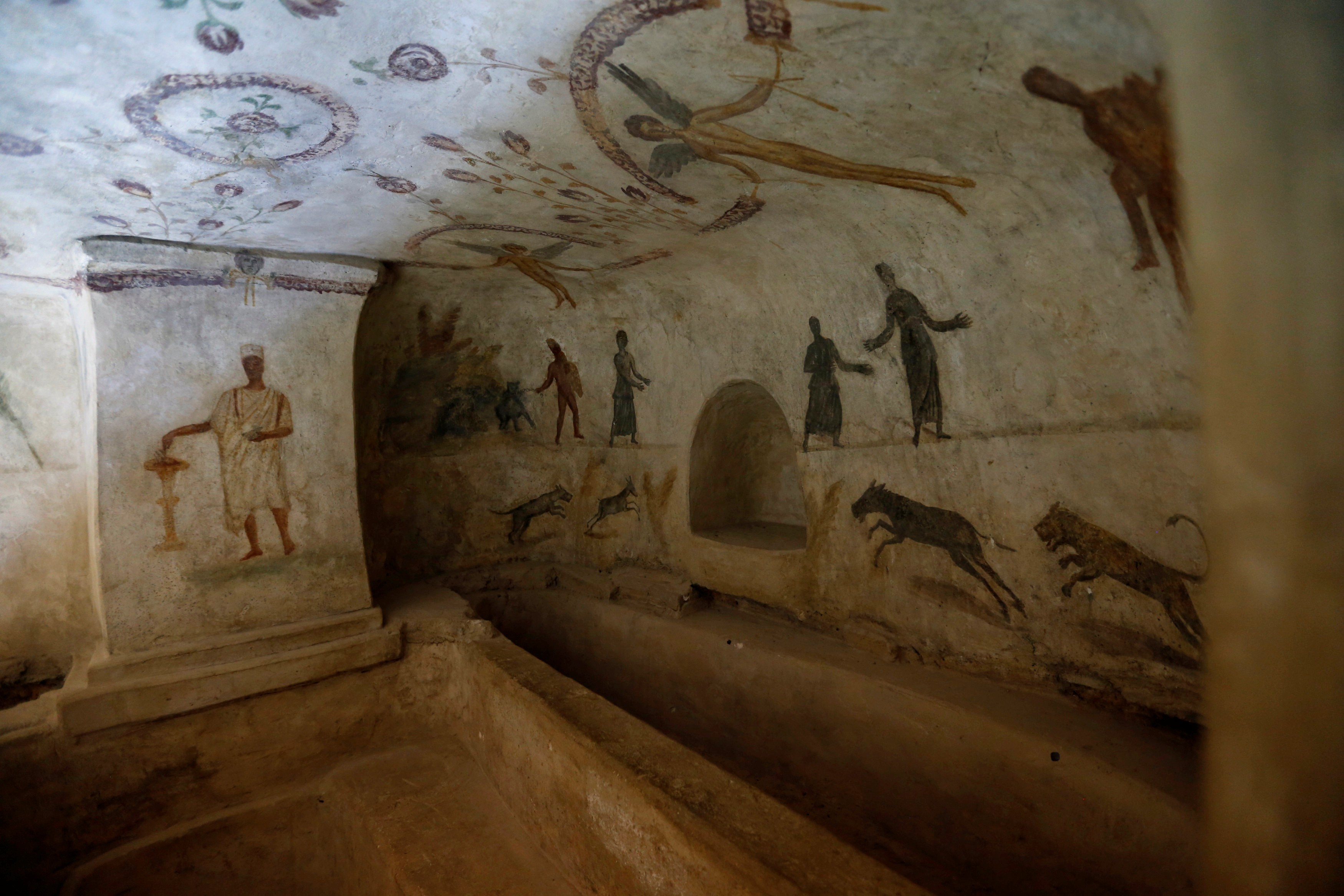 Drawings representing the funerary rituals are seen at Ancient Roman graves date back to the Roman period in Tripoli, Libya, Oct. 18, 2018.