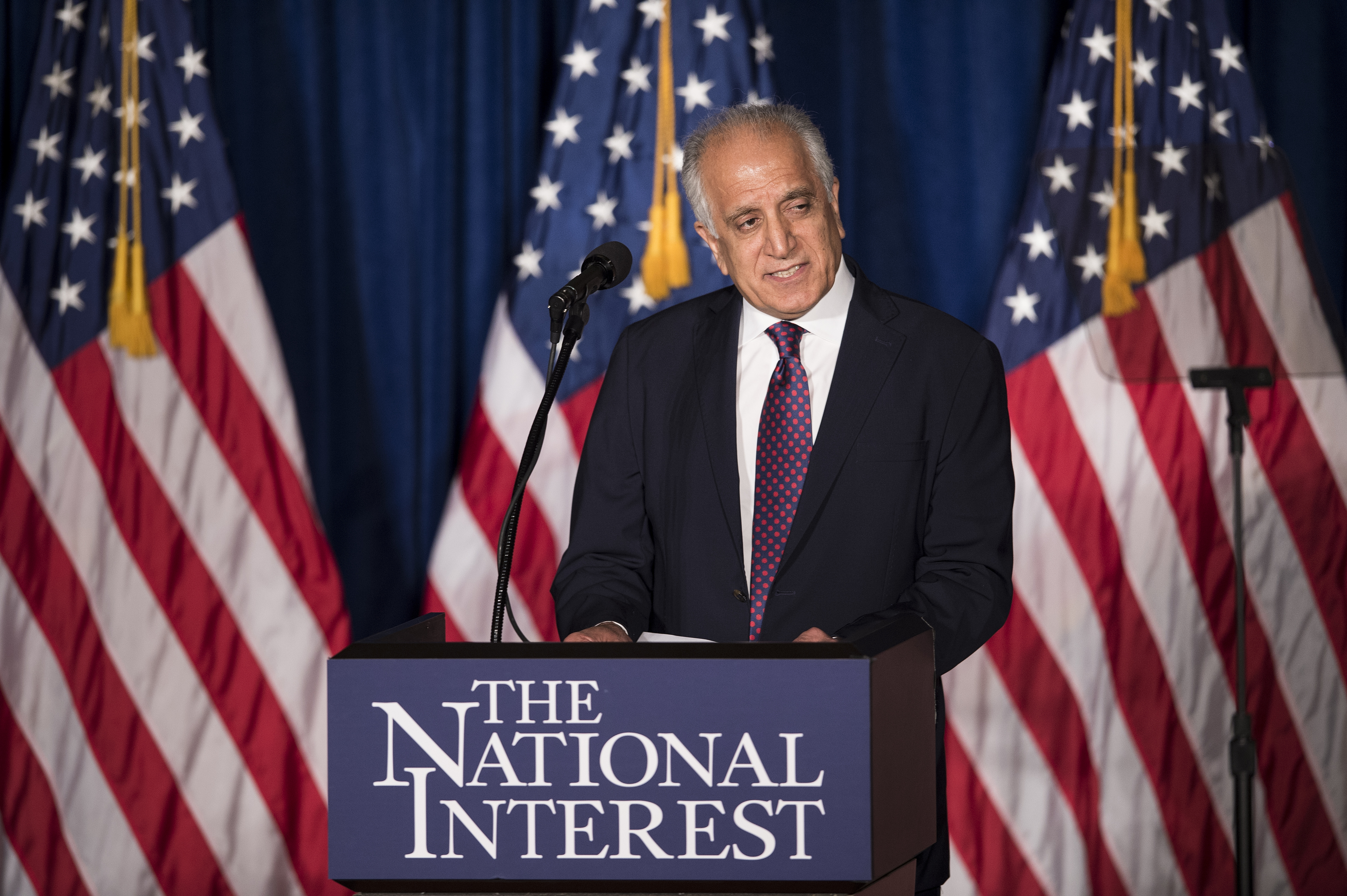 FILE - Former US Ambassador to Afghanistan Zalmay Khalilzad speaks about foreign policy at the Mayflower Hotel, April 27, 2016, in Washington. Khalilzad, now the U.S. Special Representative for Afghanistan Reconciliation, is on an 11-day trip to Afgh...