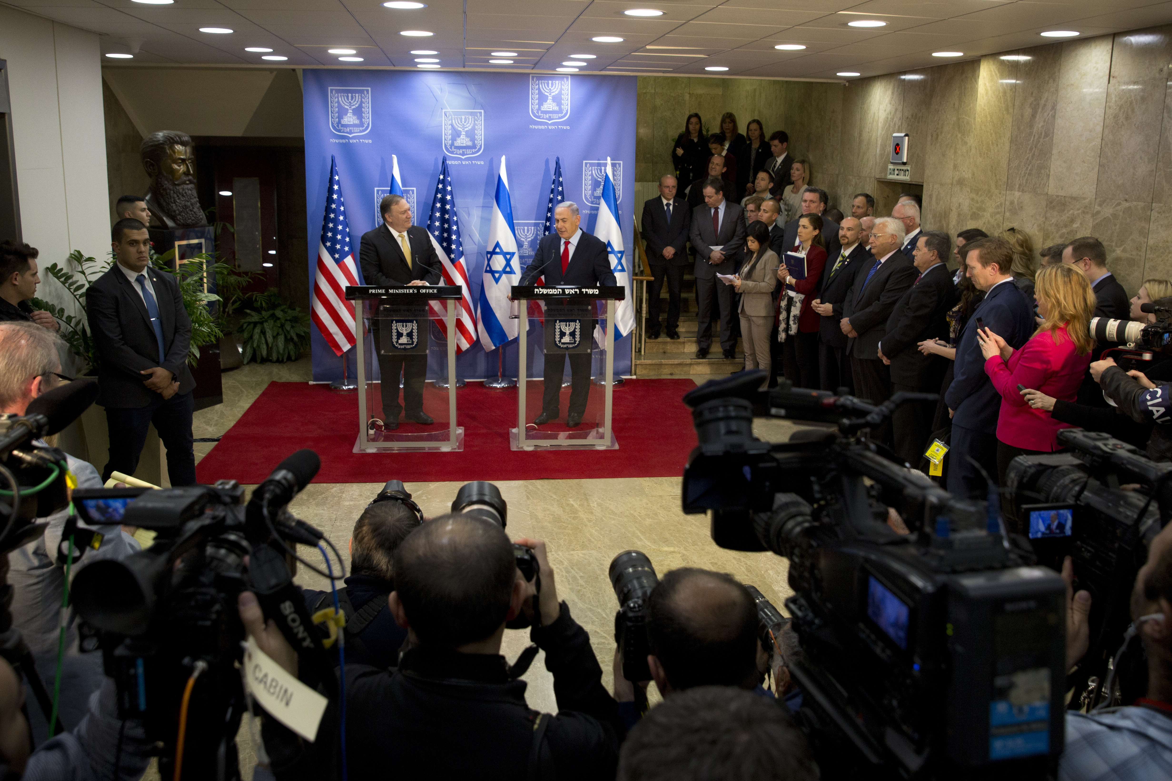 Israeli Prime Minister Benjamin Netanyahu, right, and U.S. Secretary of State Mike Pompeo deliver joint statements at the Prime Minister's office in Jerusalem, March 20, 2019.