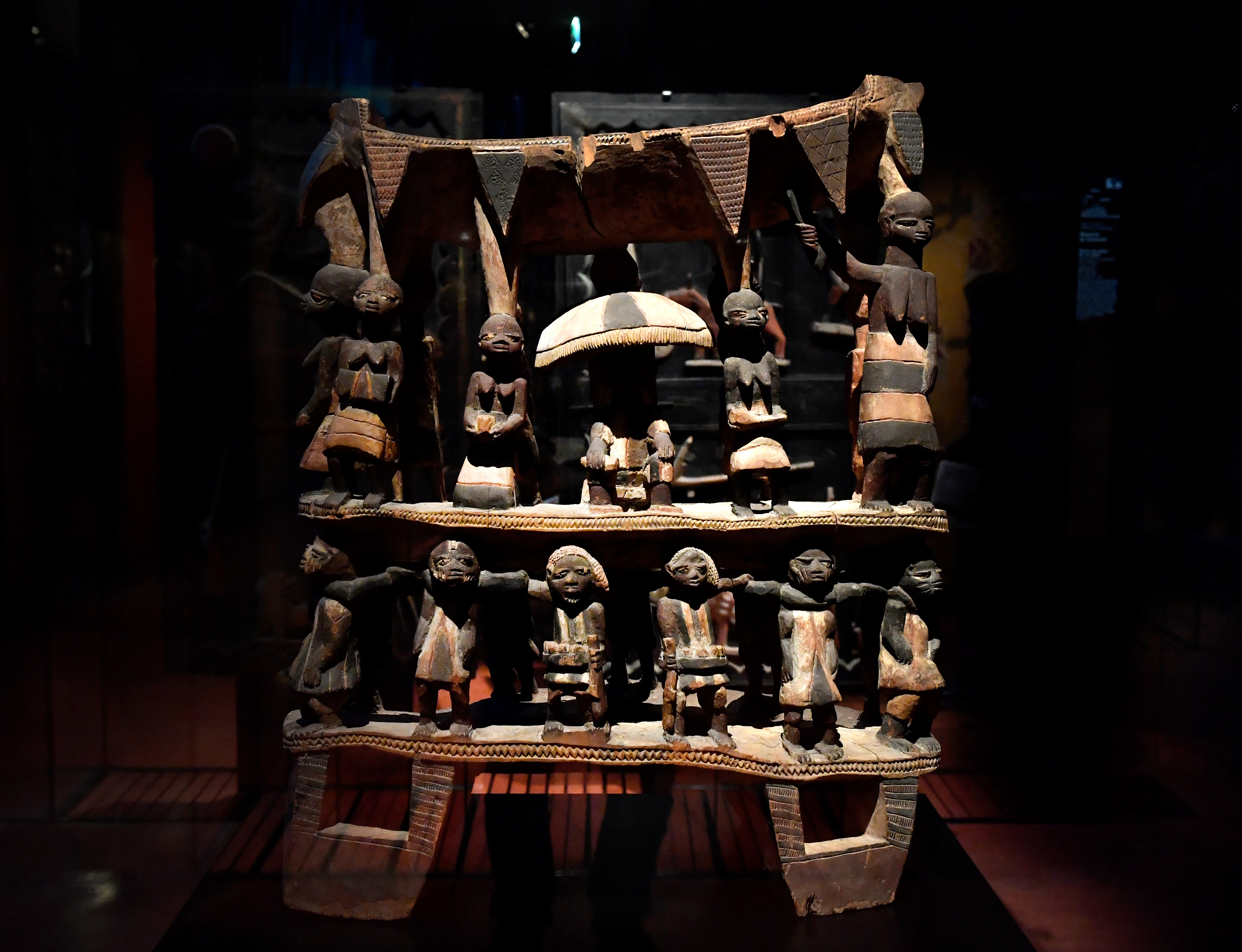 Royal Seat of the Kingdom of Dahomey from the early 19th century is pictured, on June 18, 2018 at the Quai Branly Museum-Jacques Chirac in Paris.