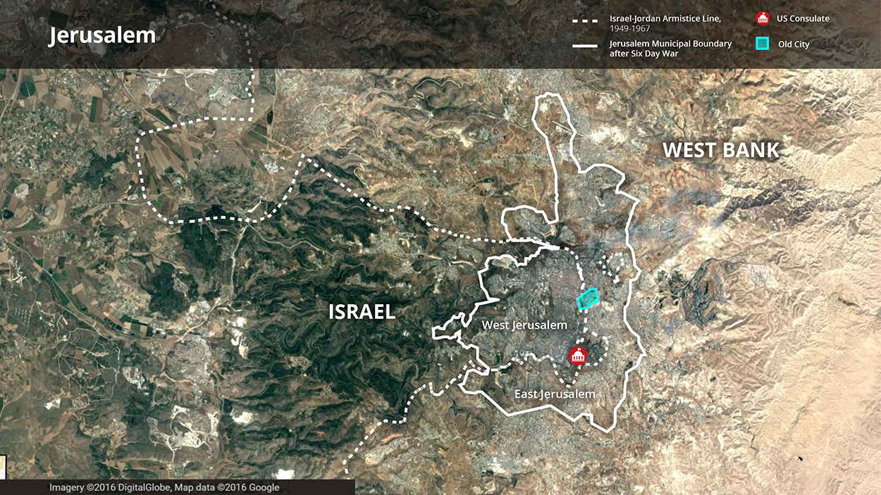A map of Israel and the West Bank showing boundaries of Jerusalem and the location of the US Consulate.