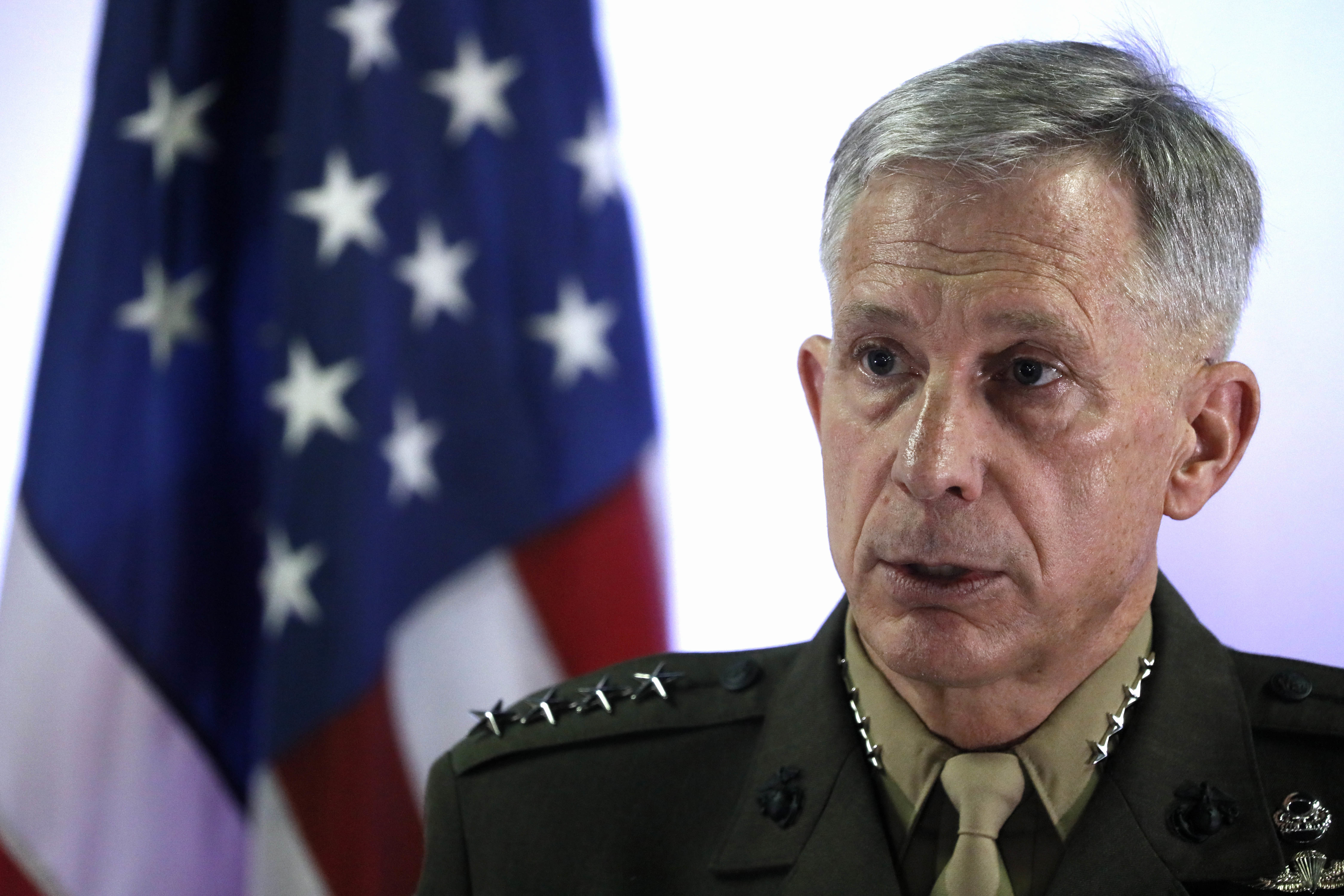 U.S. Marine Corps General Thomas Waldhauser holds a news conference at Camp Lemonnier in Ambouli, Djibouti, April 23, 2017.