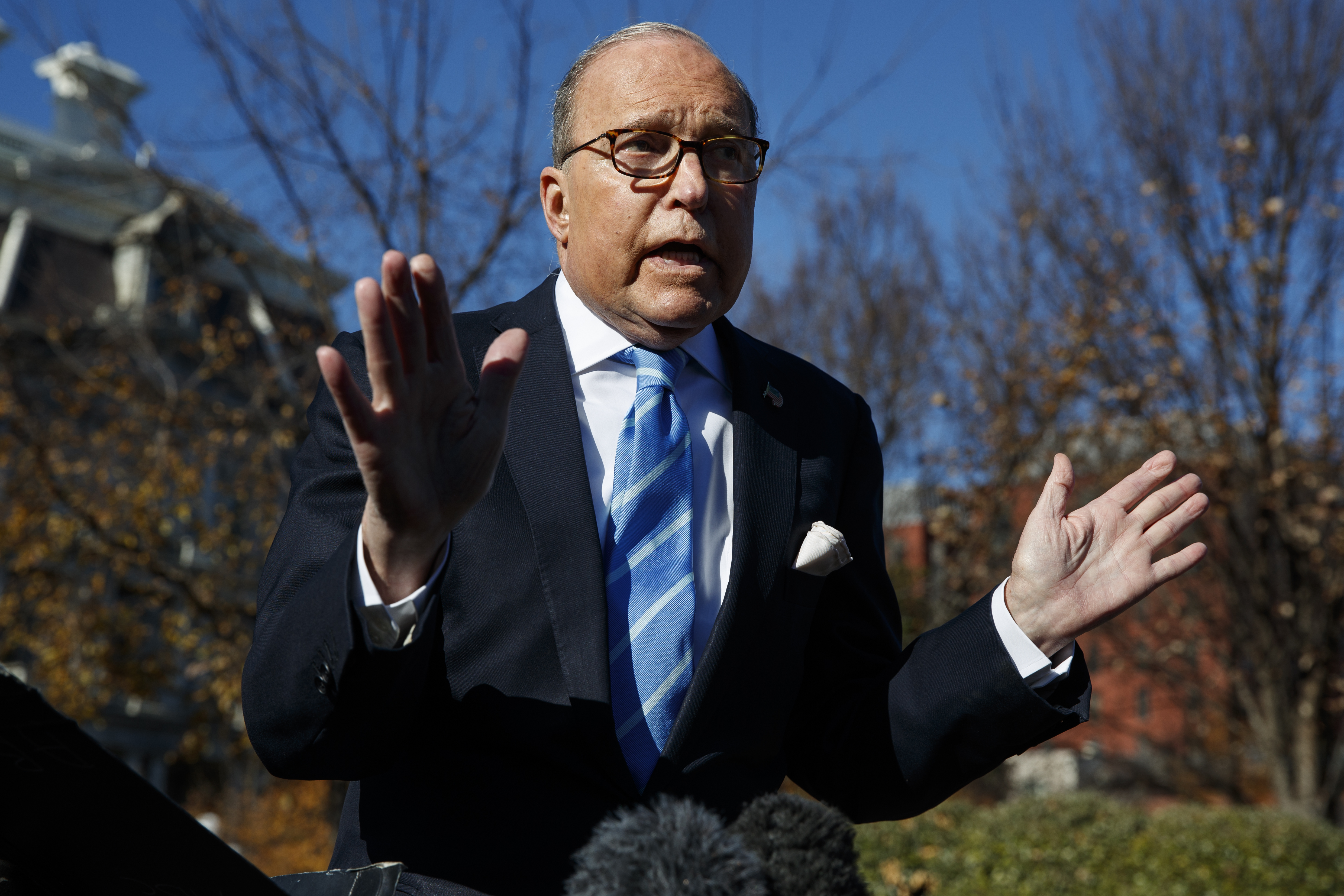 White House chief economic adviser Larry Kudlow talks with reporters about trade negotiations with China, at the White House, Dec. 3, 2018, in Washington.