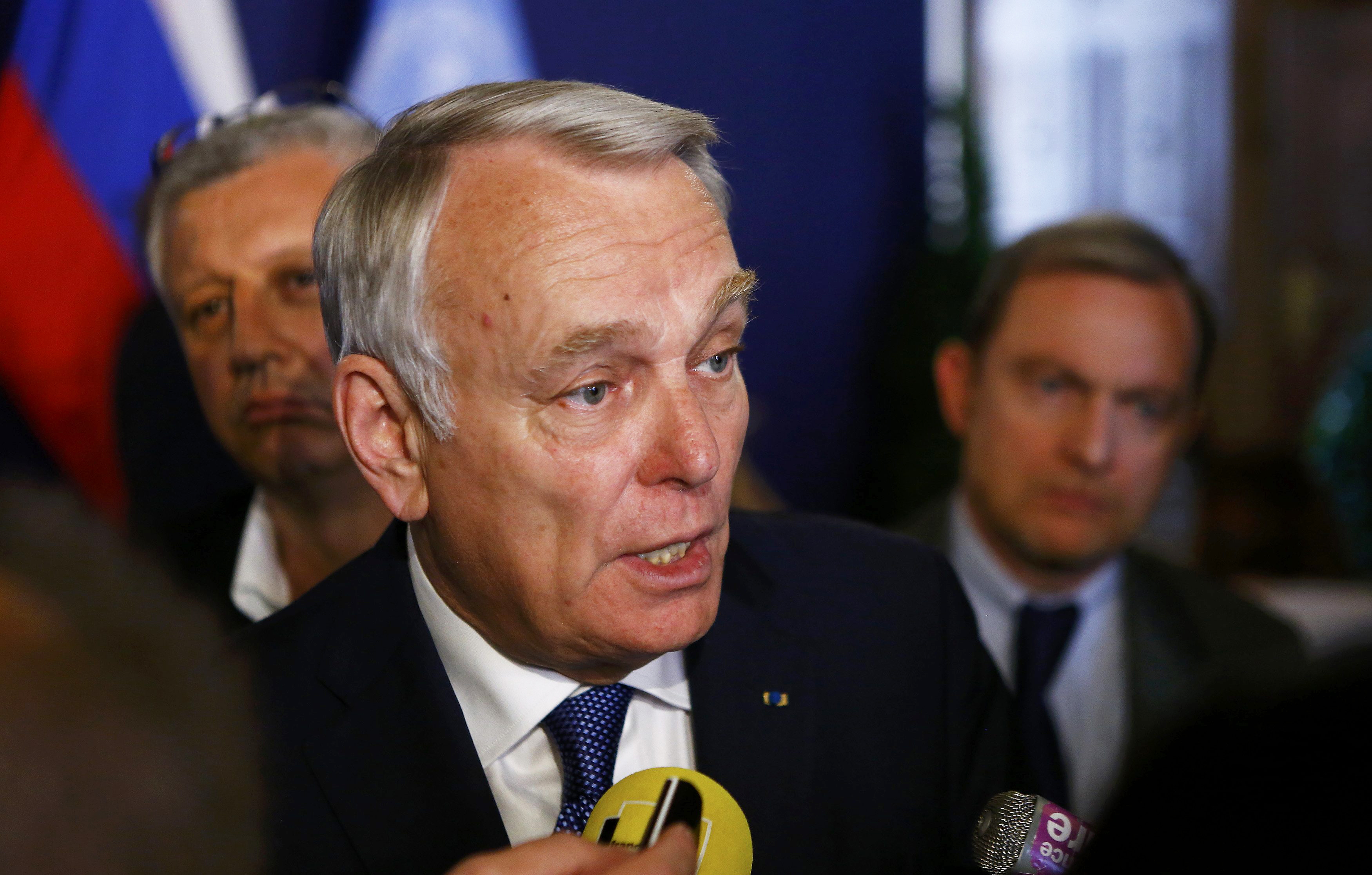 French Foreign Minister Jean-Marc Ayrault speaks to the media in Vienna, Austria, May 17, 2016.