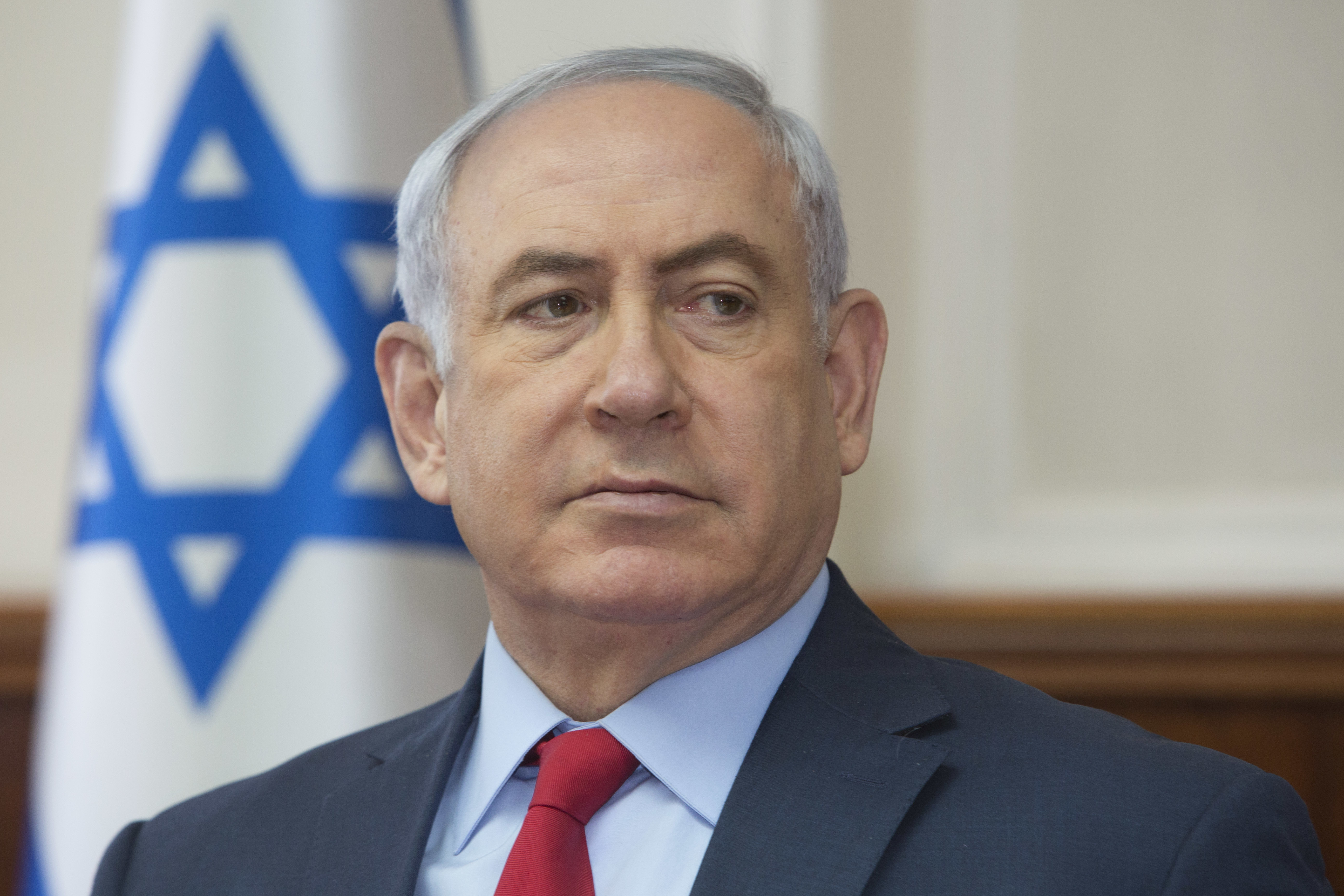 Israeli Prime Minister Benjamin Netanyahu attends the weekly cabinet meeting at his office in Jerusalem, Sunday, Oct. 1, 2017.