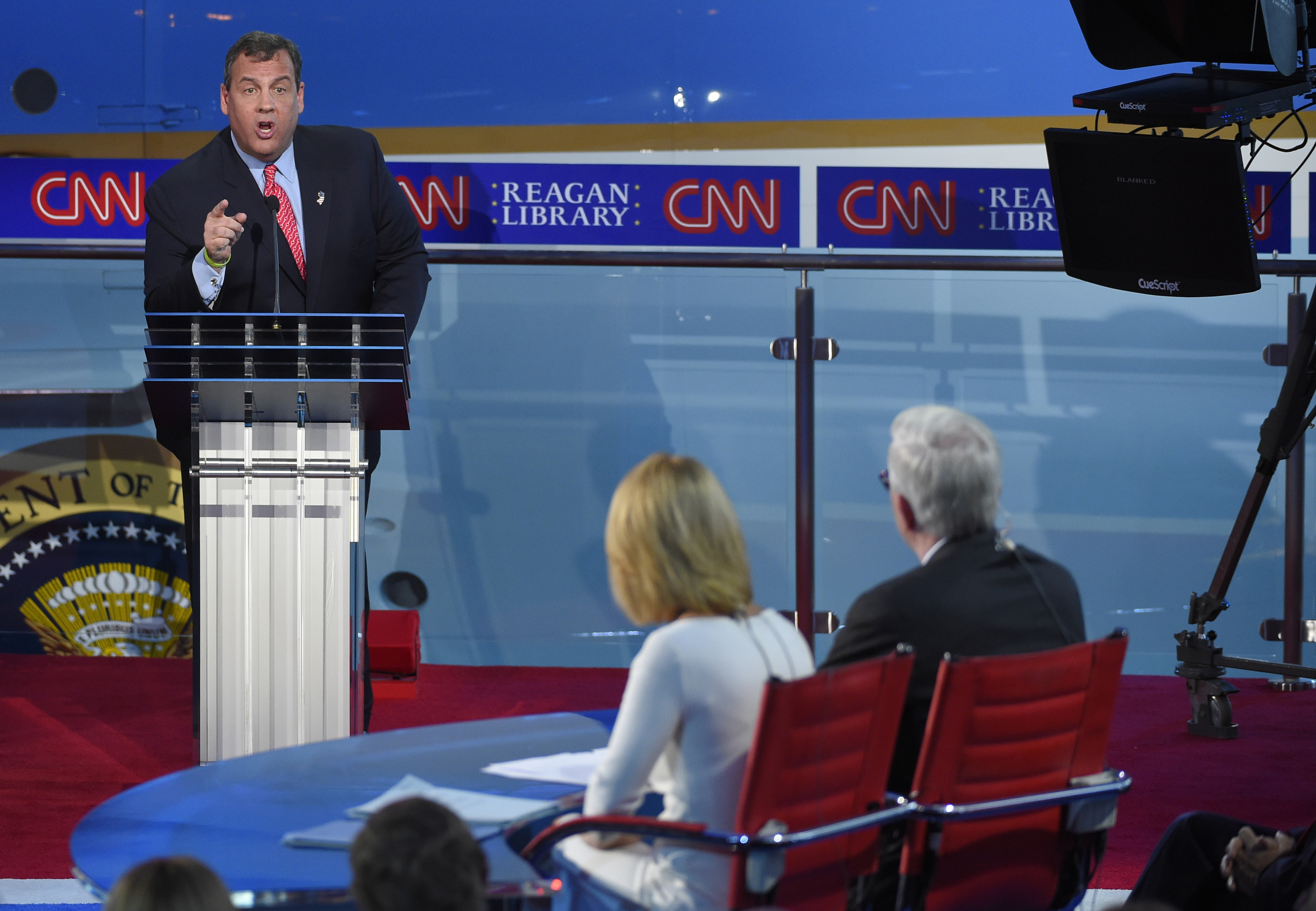 Republican presidential candidate, New Jersey Gov. Chris Christie responds to a question during the Republican presidential debate, Sept. 16, 2015.