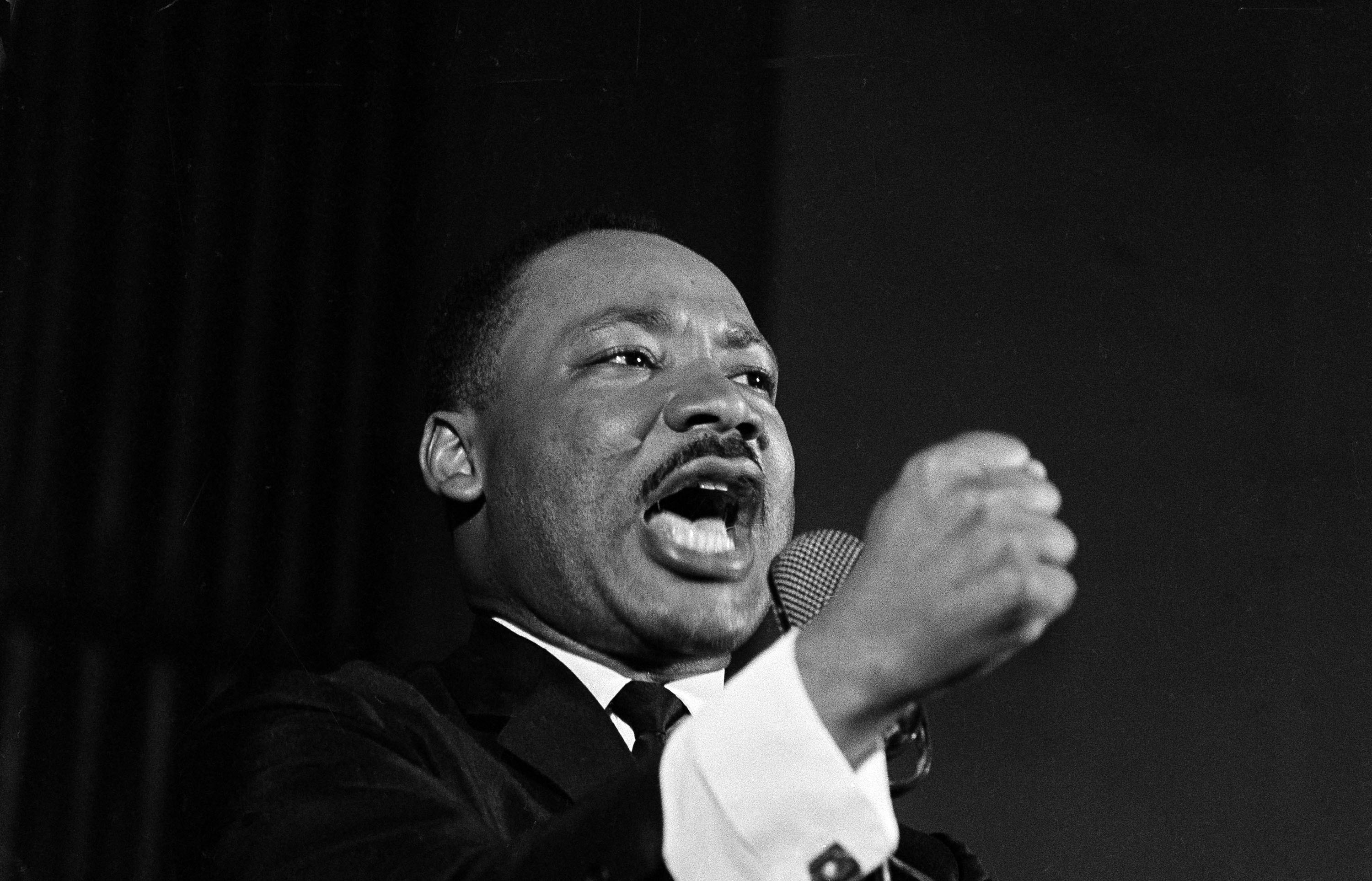 Martin Luther King, Jr. shakes his fist during a speech in Selma, Alabama, Feb. 12, 1965.