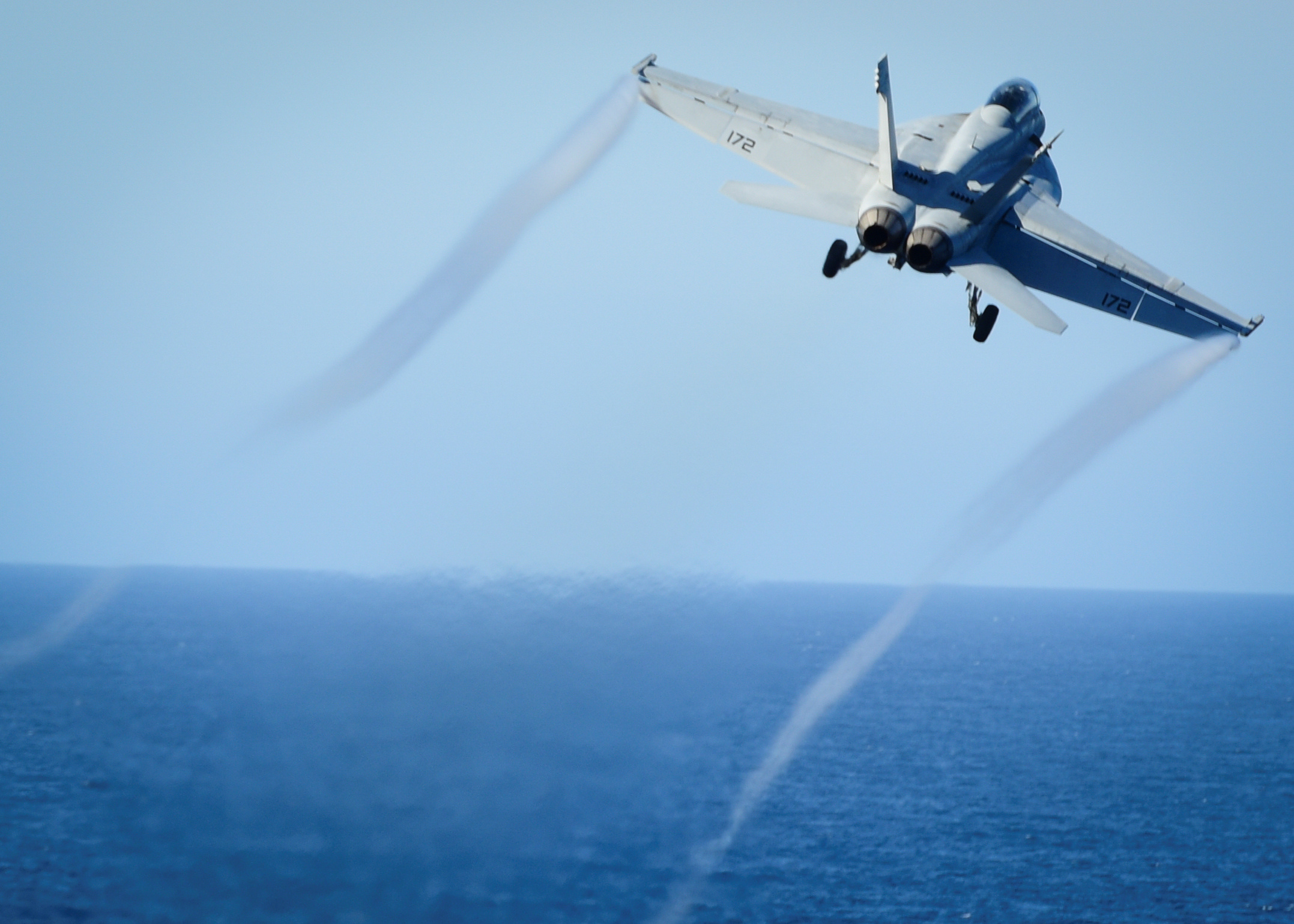 FILE - A Super Hornet takes off from the flight deck of the U.S. Navy aircraft carrier USS Nimitz, Oct. 29, 2016. A Super Hornet reportedly downed a Syrian SU-22 fighter jet Sunday.