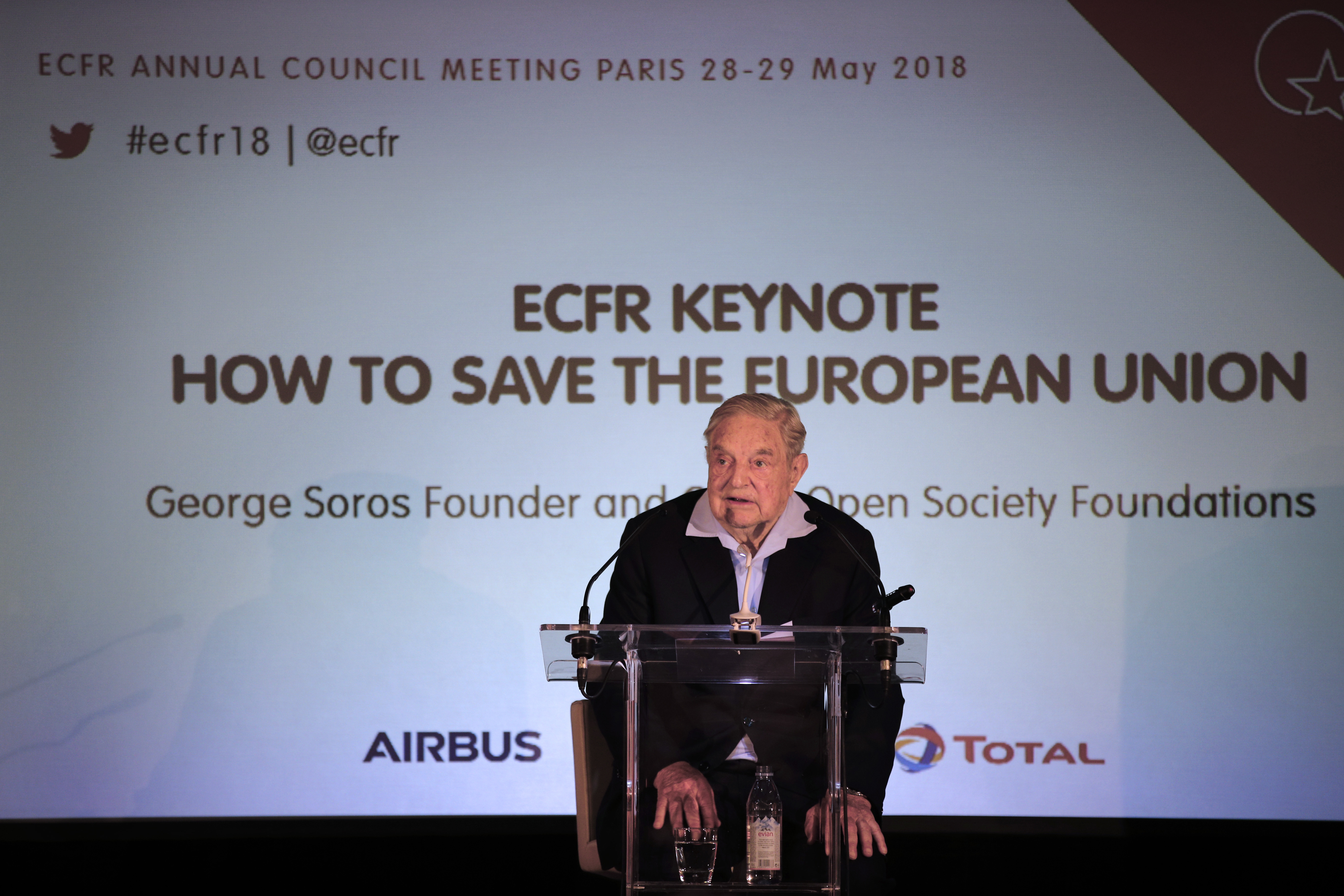 """George Soros, founder and chairman of the Open Society Foundations, deliver his speech entitled """"How to Save the European Union"""" as he attends the European Council On Foreign Relations Annual Council Meeting conference in Paris, May 29, 2018."""